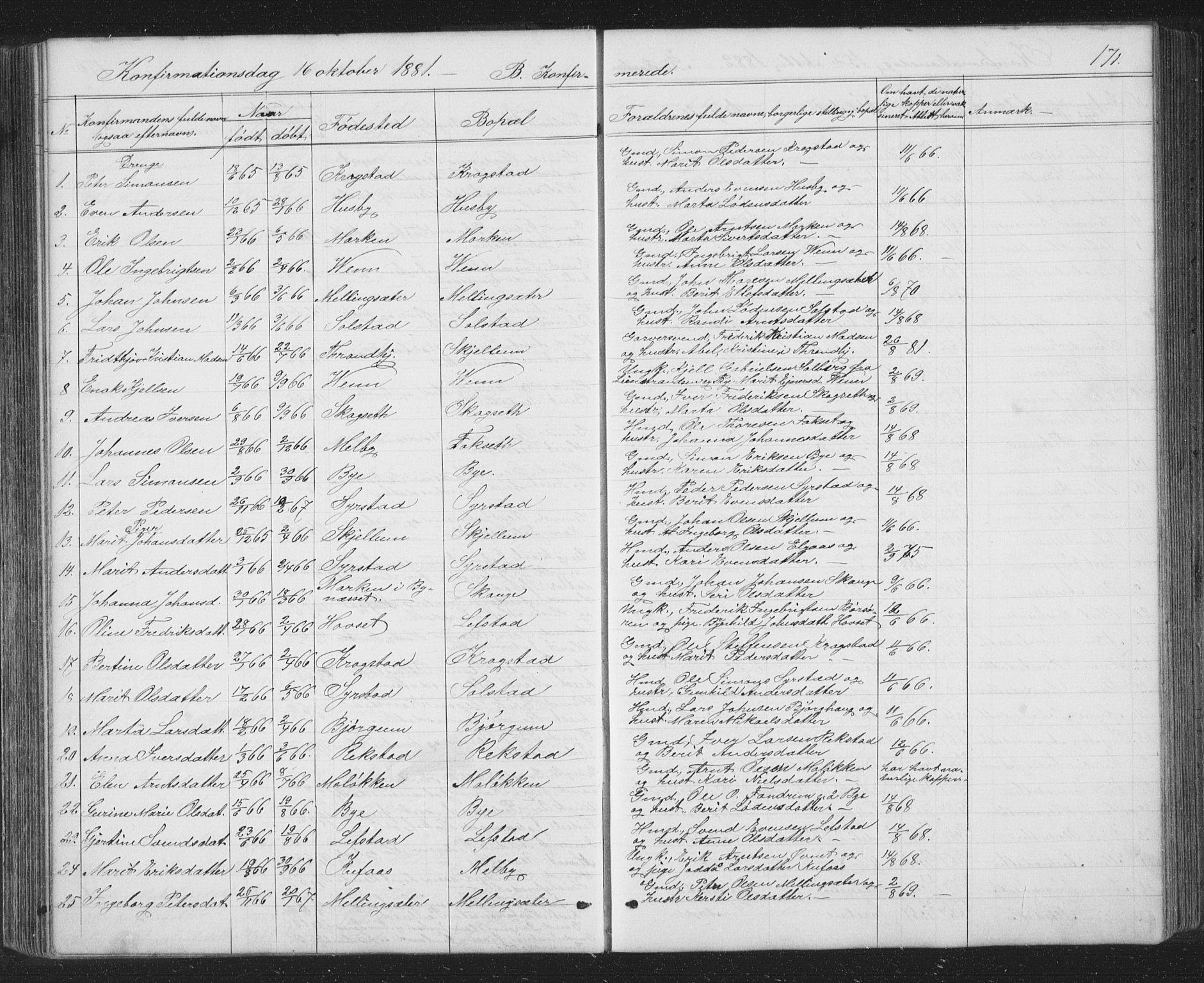SAT, Ministerialprotokoller, klokkerbøker og fødselsregistre - Sør-Trøndelag, 667/L0798: Klokkerbok nr. 667C03, 1867-1929, s. 171