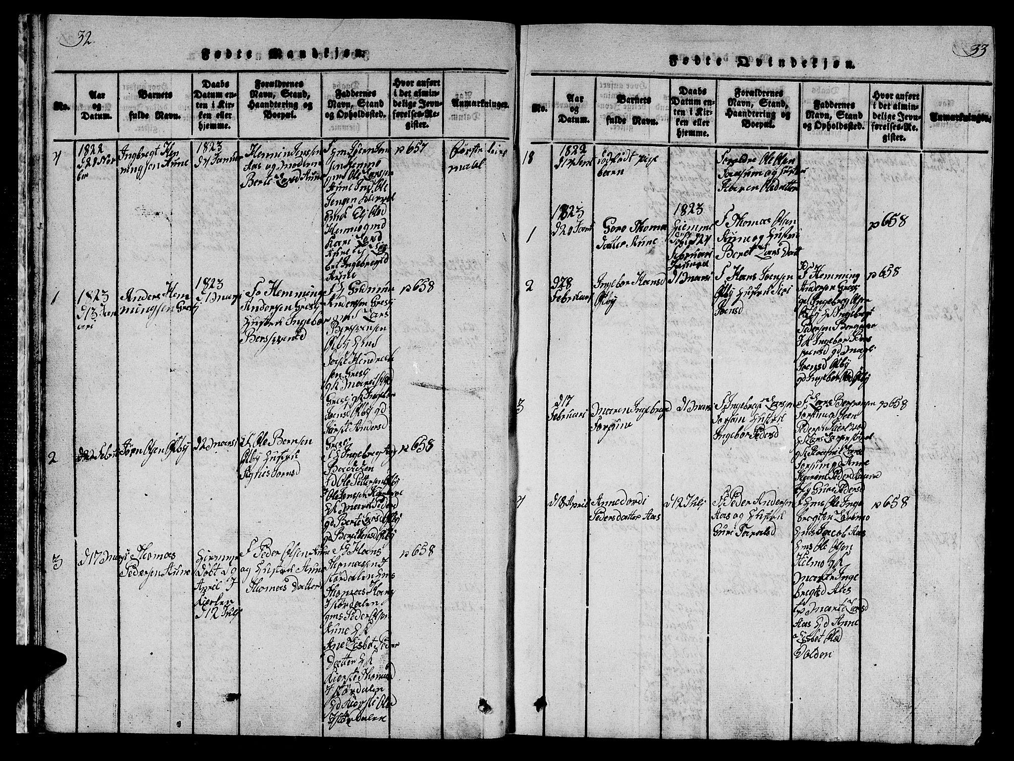 SAT, Ministerialprotokoller, klokkerbøker og fødselsregistre - Sør-Trøndelag, 698/L1164: Klokkerbok nr. 698C01, 1816-1861, s. 32-33