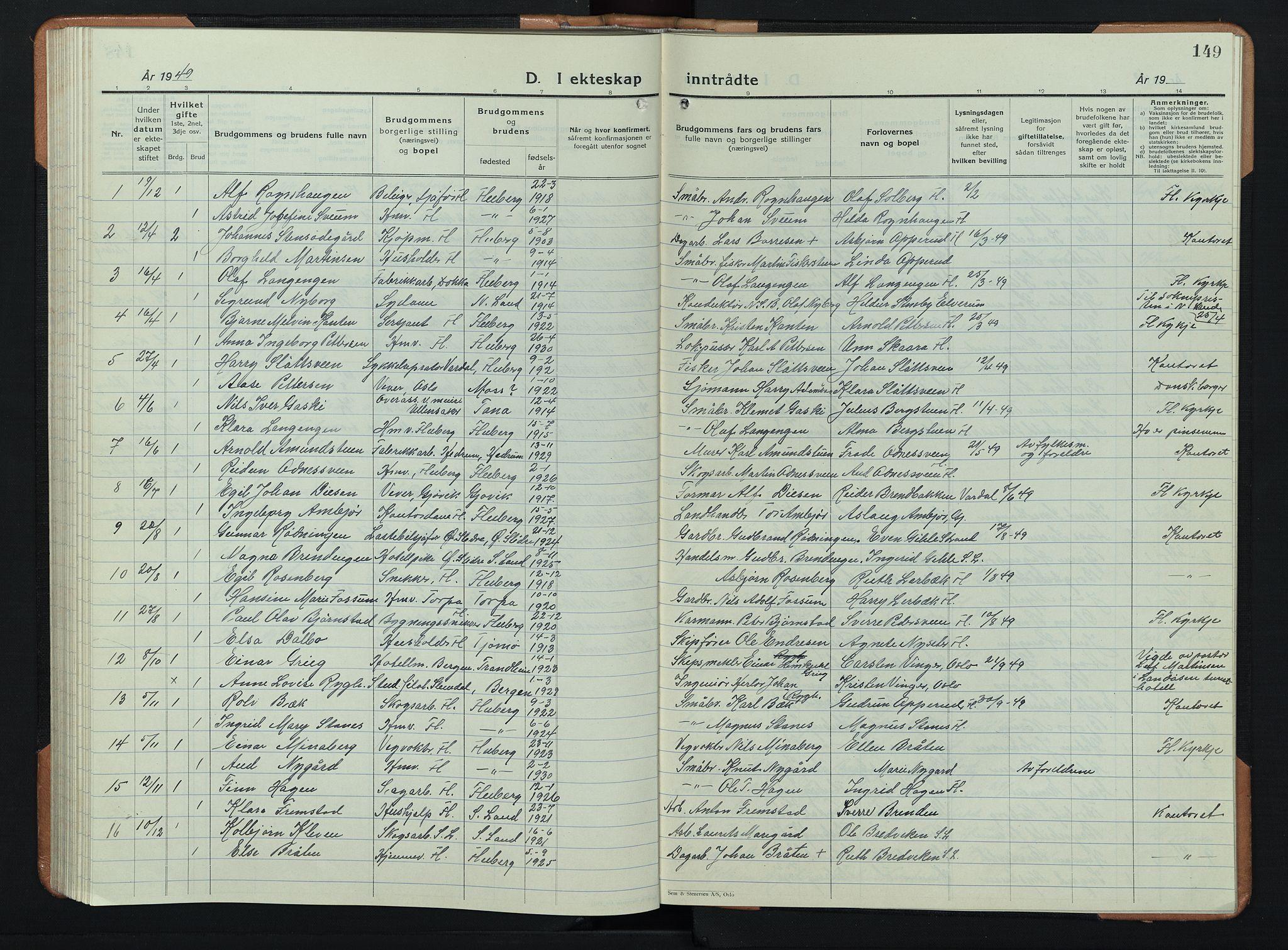 SAH, Søndre Land prestekontor, L/L0008: Klokkerbok nr. 8, 1926-1950, s. 149