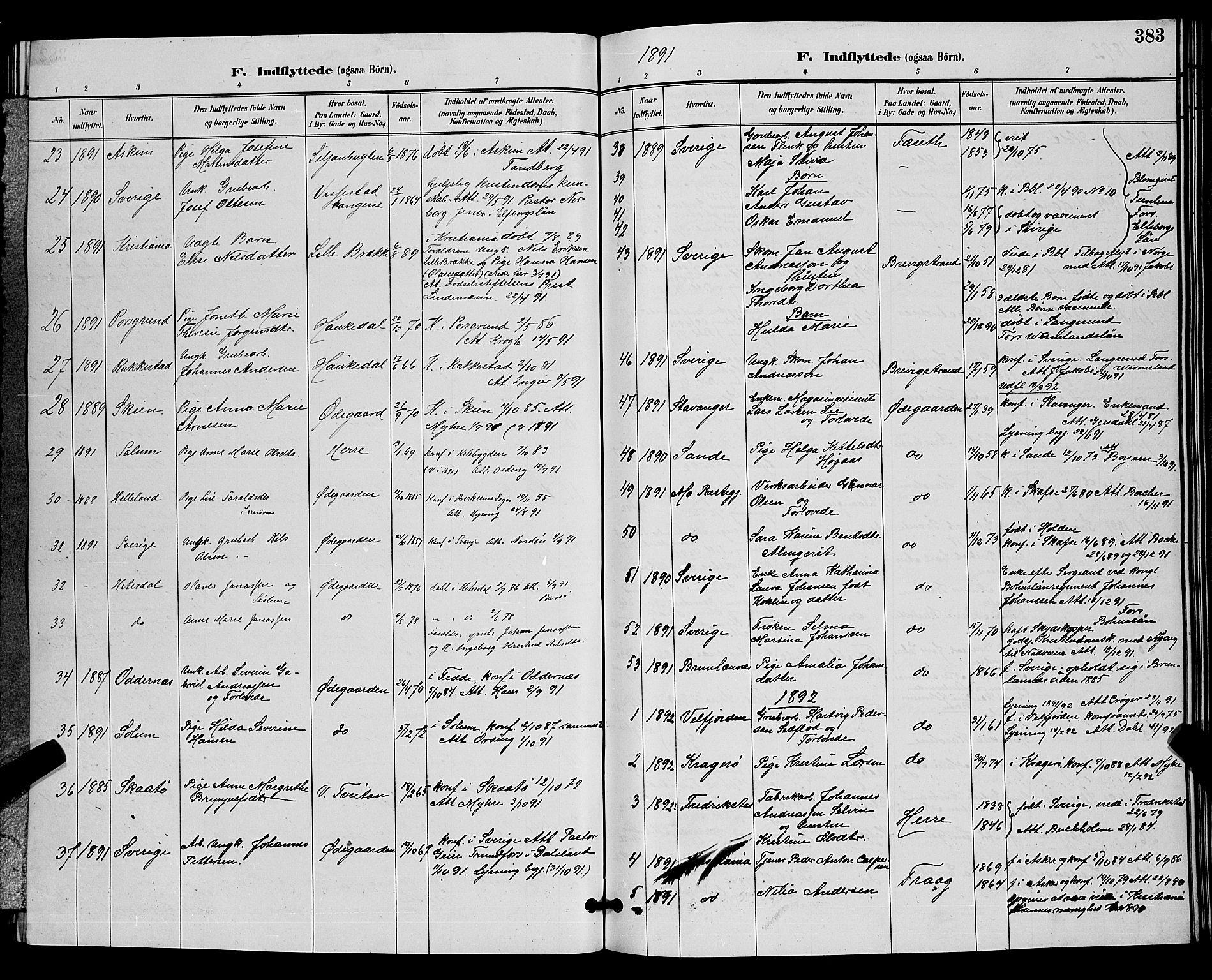 SAKO, Bamble kirkebøker, G/Ga/L0009: Klokkerbok nr. I 9, 1888-1900, s. 383