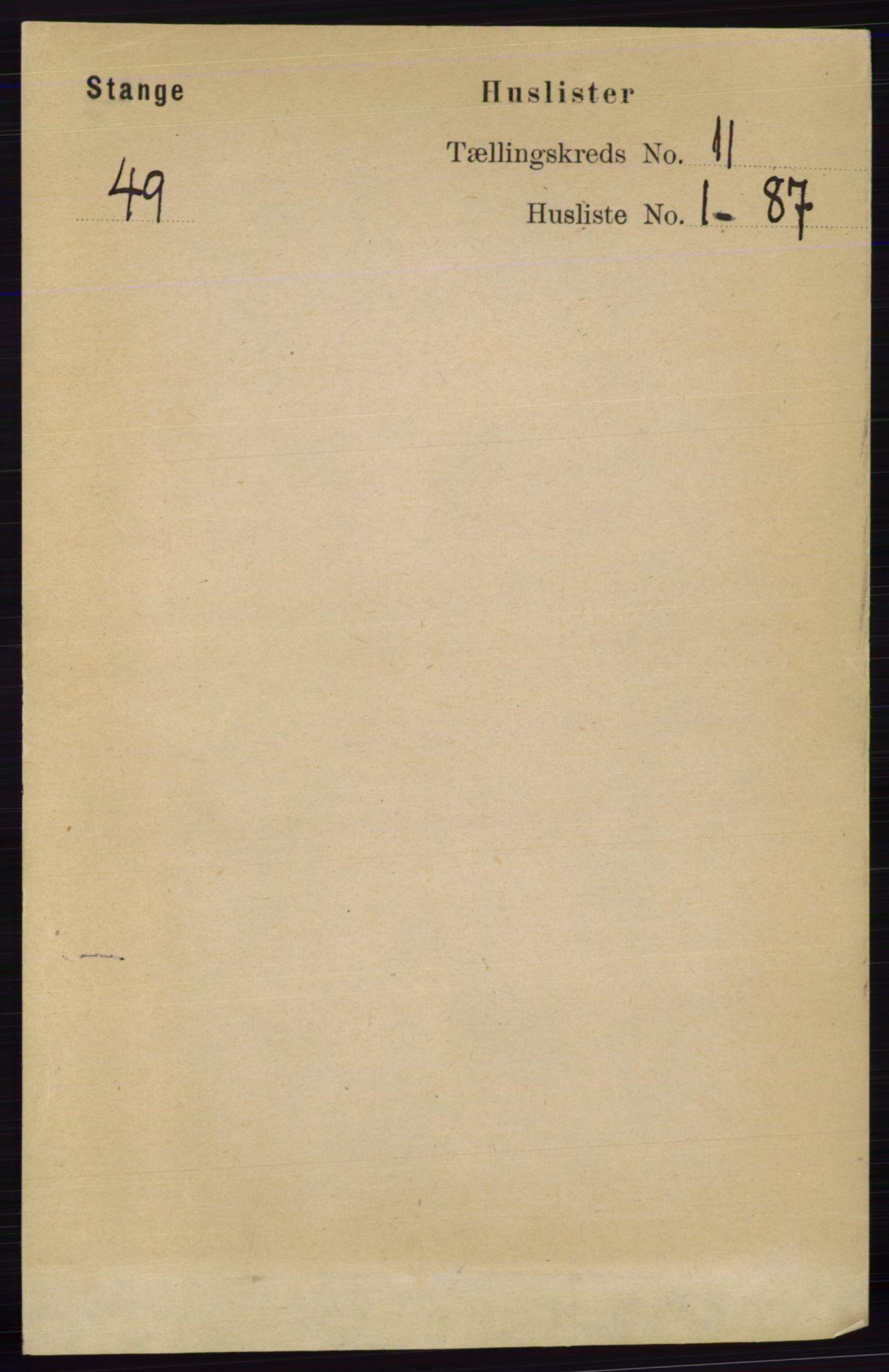 RA, Folketelling 1891 for 0417 Stange herred, 1891, s. 7430
