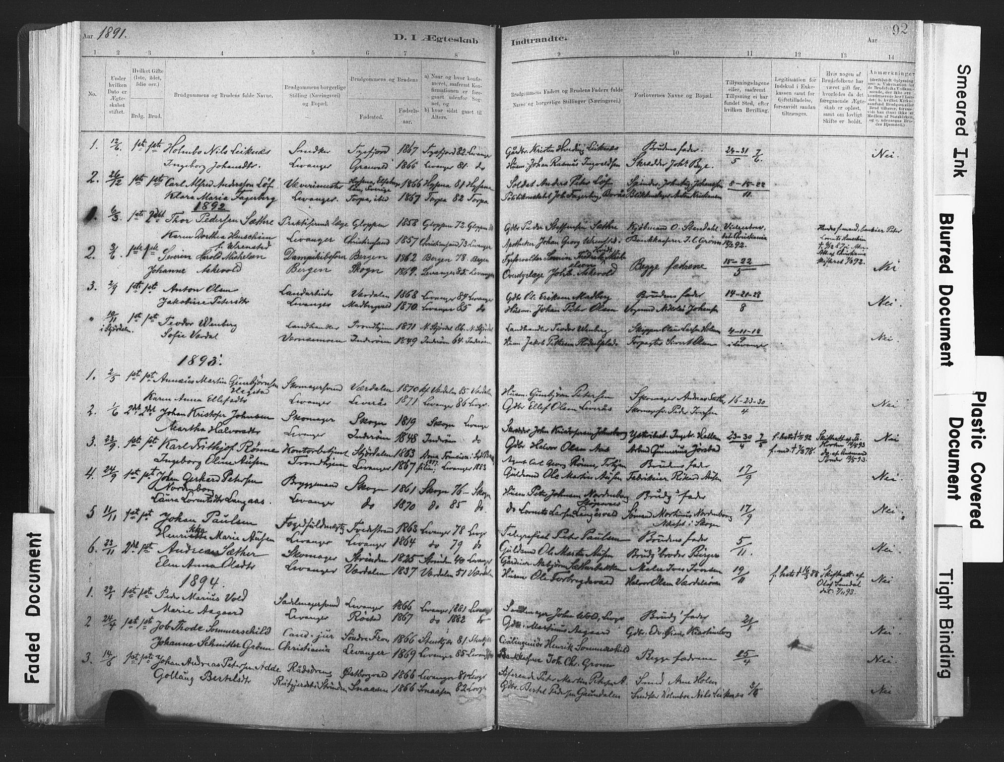 SAT, Ministerialprotokoller, klokkerbøker og fødselsregistre - Nord-Trøndelag, 720/L0189: Ministerialbok nr. 720A05, 1880-1911, s. 92