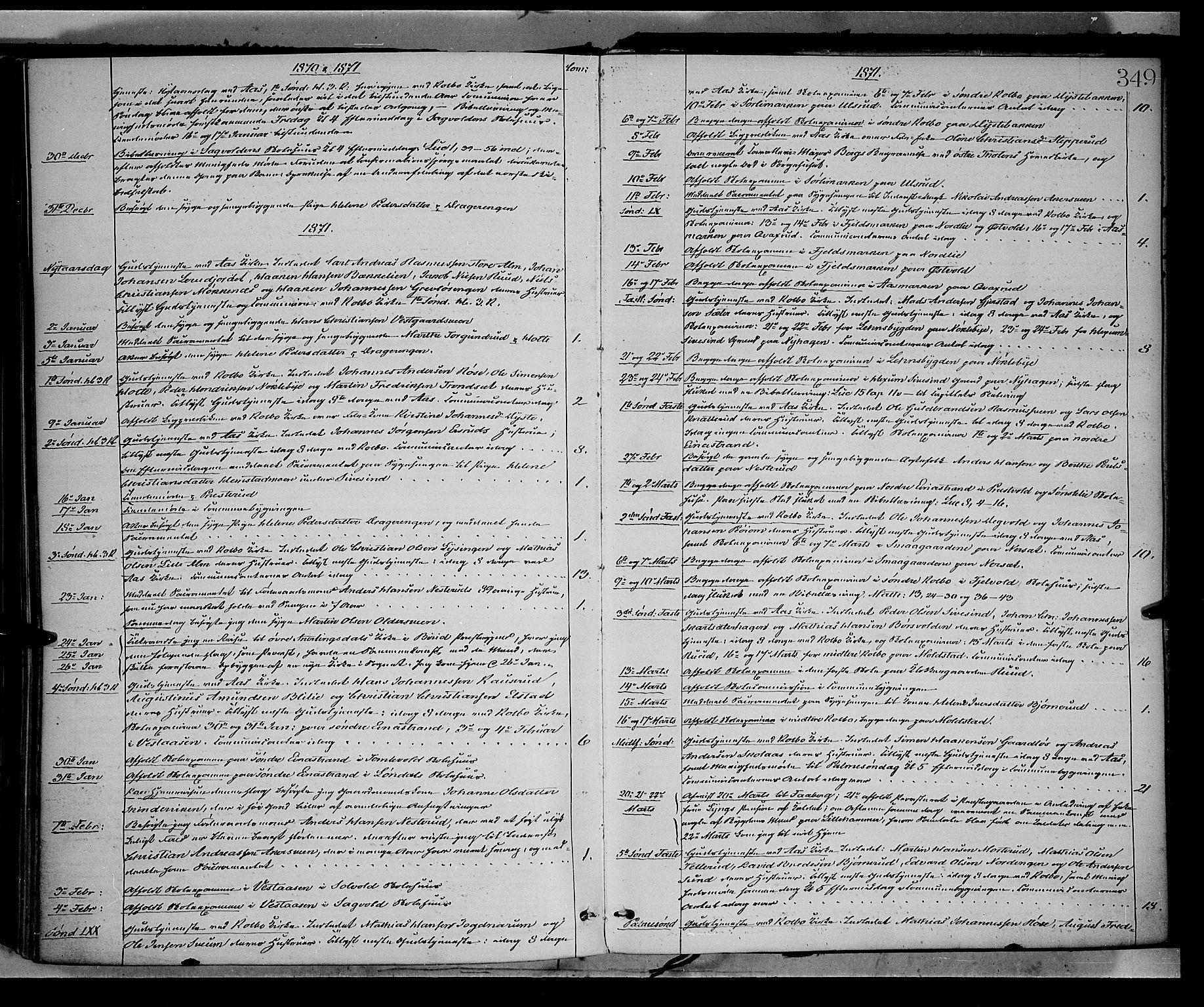 SAH, Vestre Toten prestekontor, H/Ha/Haa/L0008: Ministerialbok nr. 8, 1870-1877, s. 349
