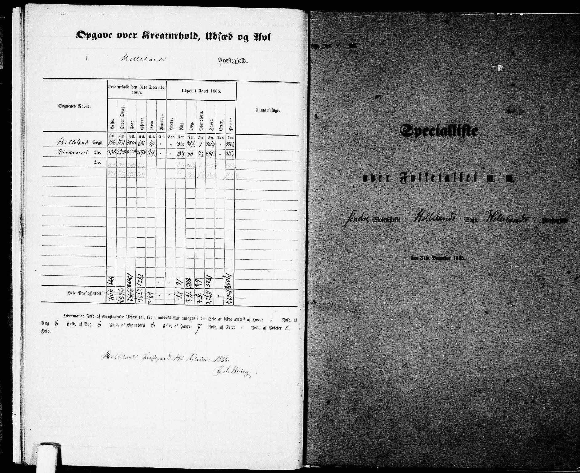 RA, Folketelling 1865 for 1115P Helleland prestegjeld, 1865, s. 11