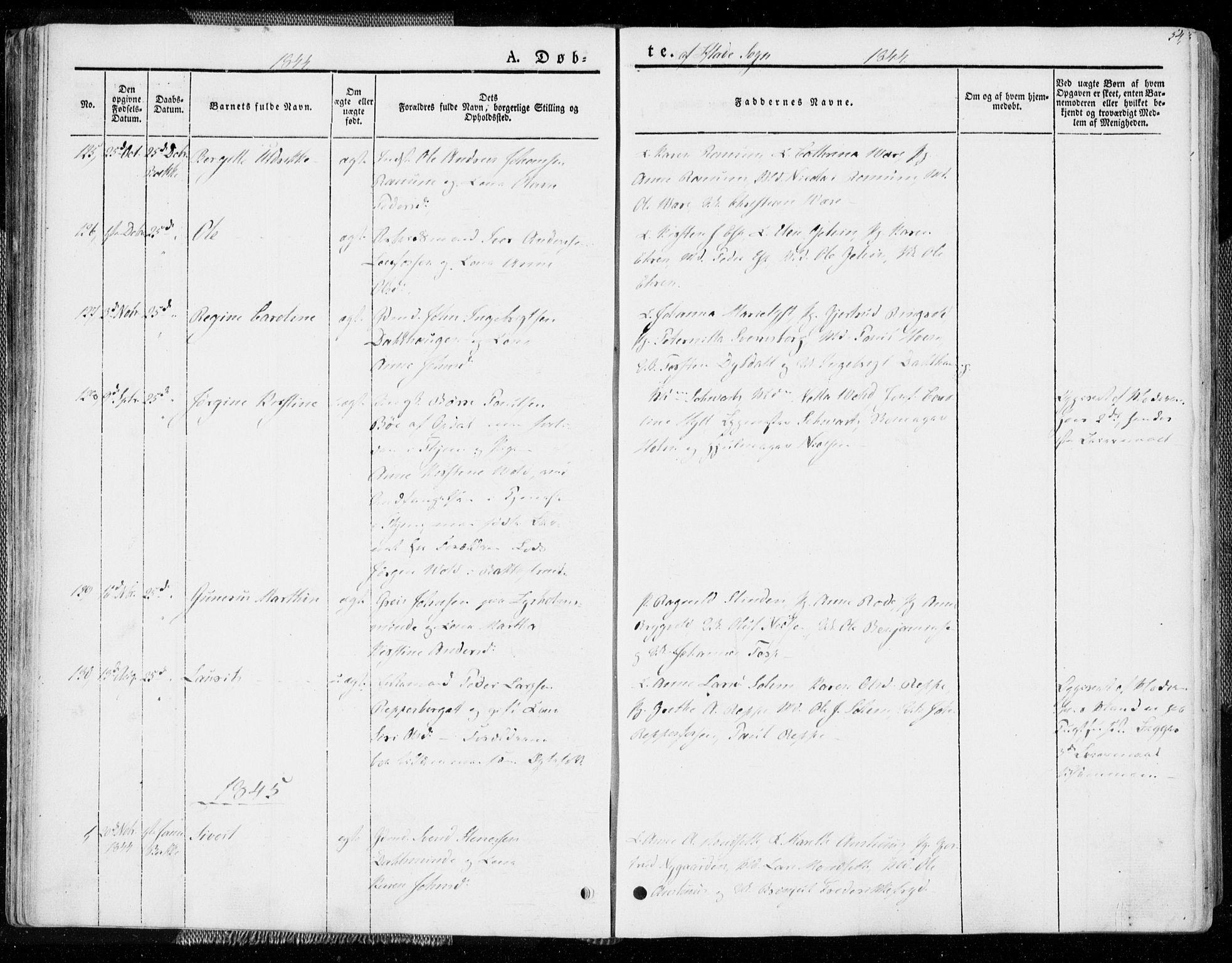 SAT, Ministerialprotokoller, klokkerbøker og fødselsregistre - Sør-Trøndelag, 606/L0290: Ministerialbok nr. 606A05, 1841-1847, s. 54