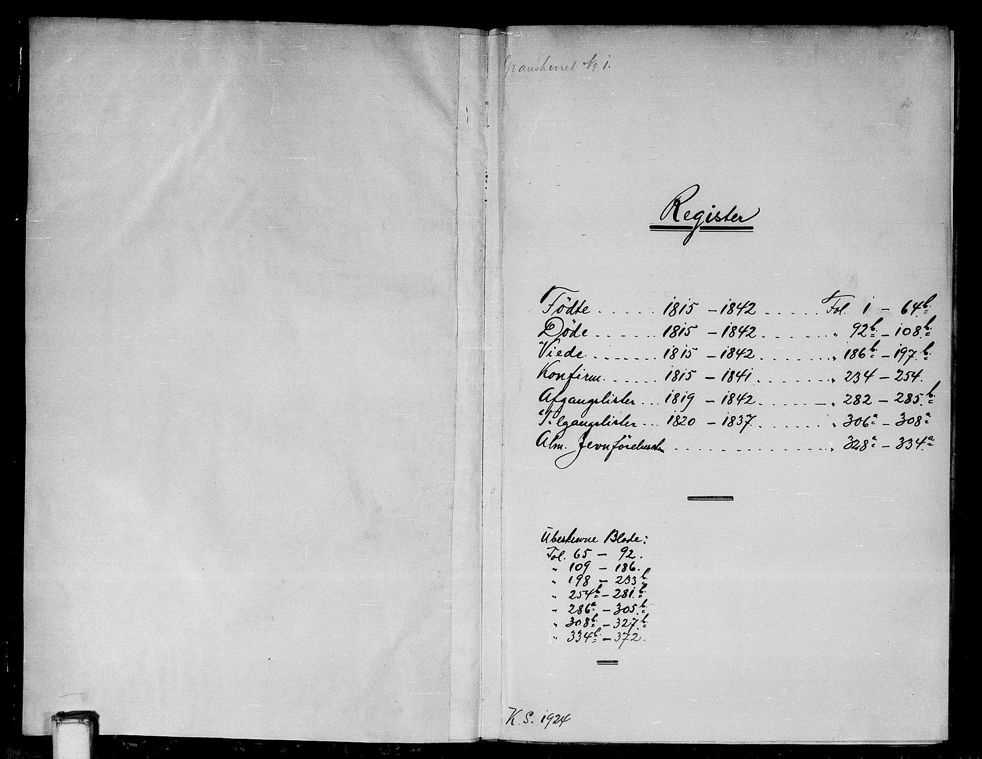 SAKO, Gransherad kirkebøker, G/Ga/L0001: Klokkerbok nr. I 1, 1815-1842