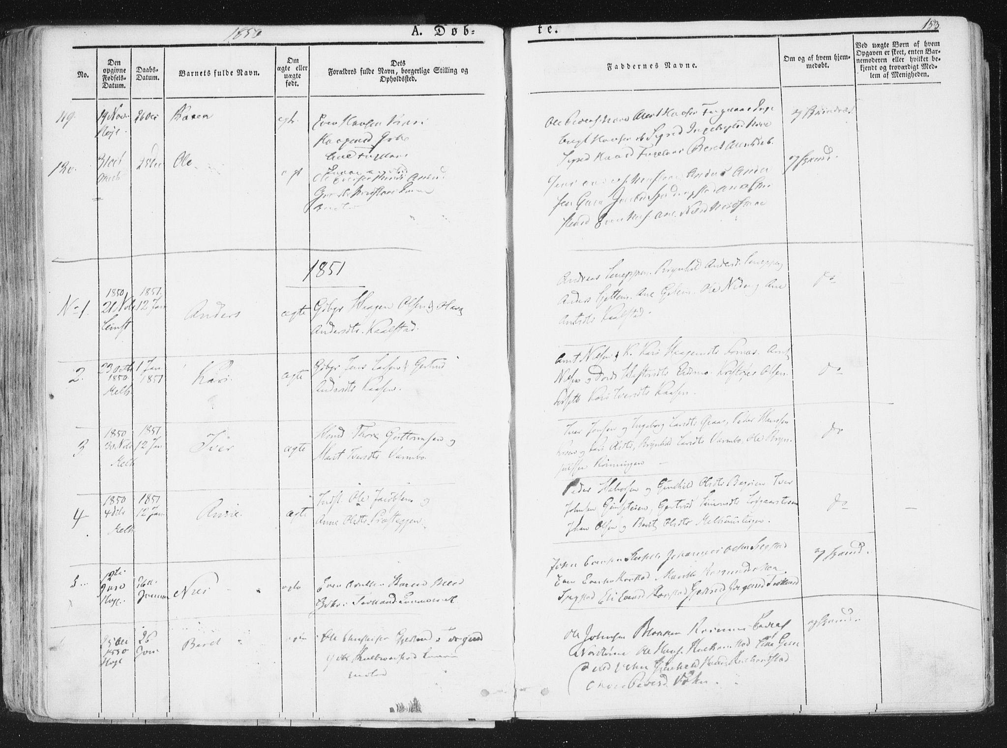 SAT, Ministerialprotokoller, klokkerbøker og fødselsregistre - Sør-Trøndelag, 691/L1074: Ministerialbok nr. 691A06, 1842-1852, s. 153