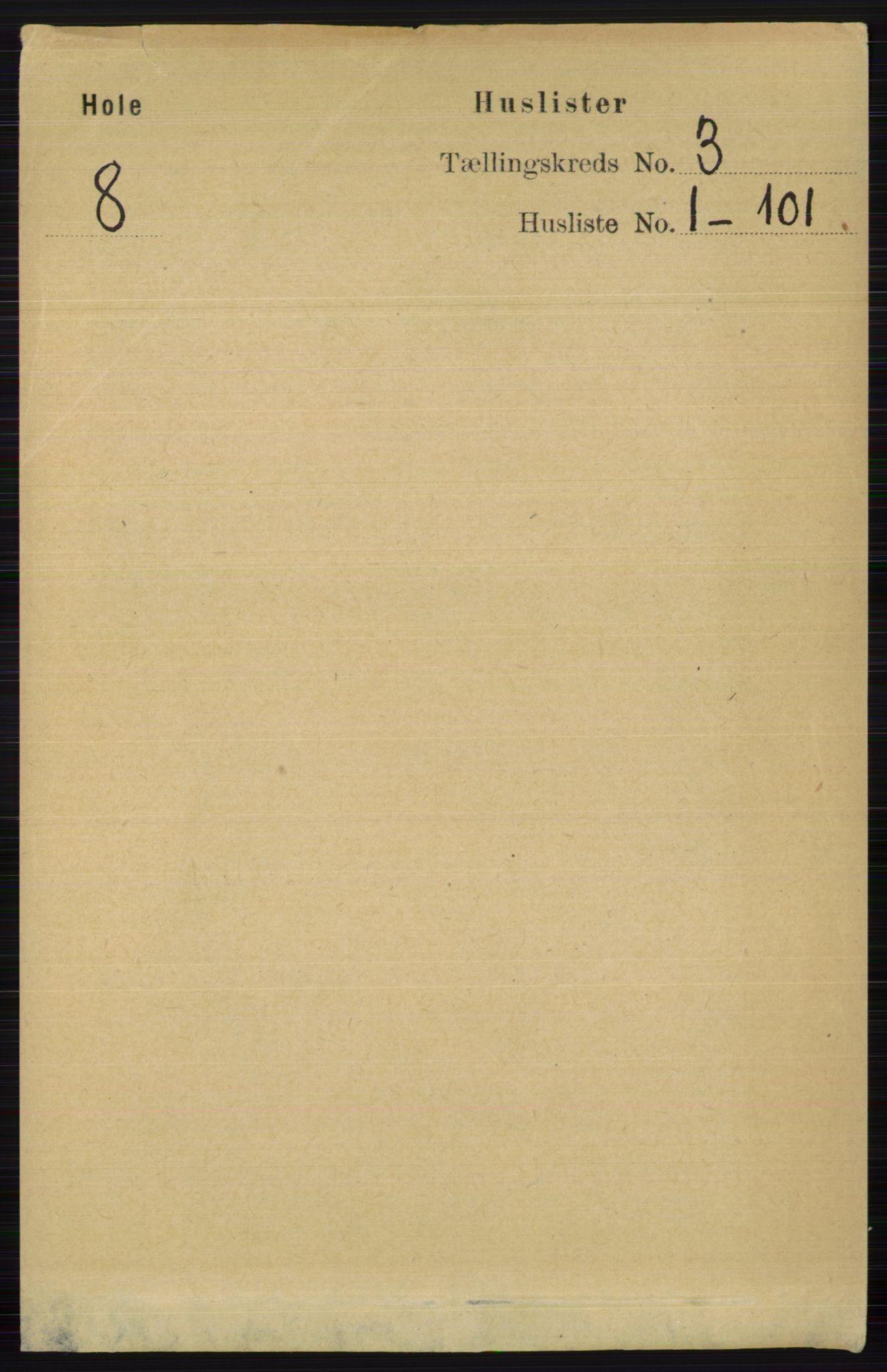 RA, Folketelling 1891 for 0612 Hole herred, 1891, s. 1118