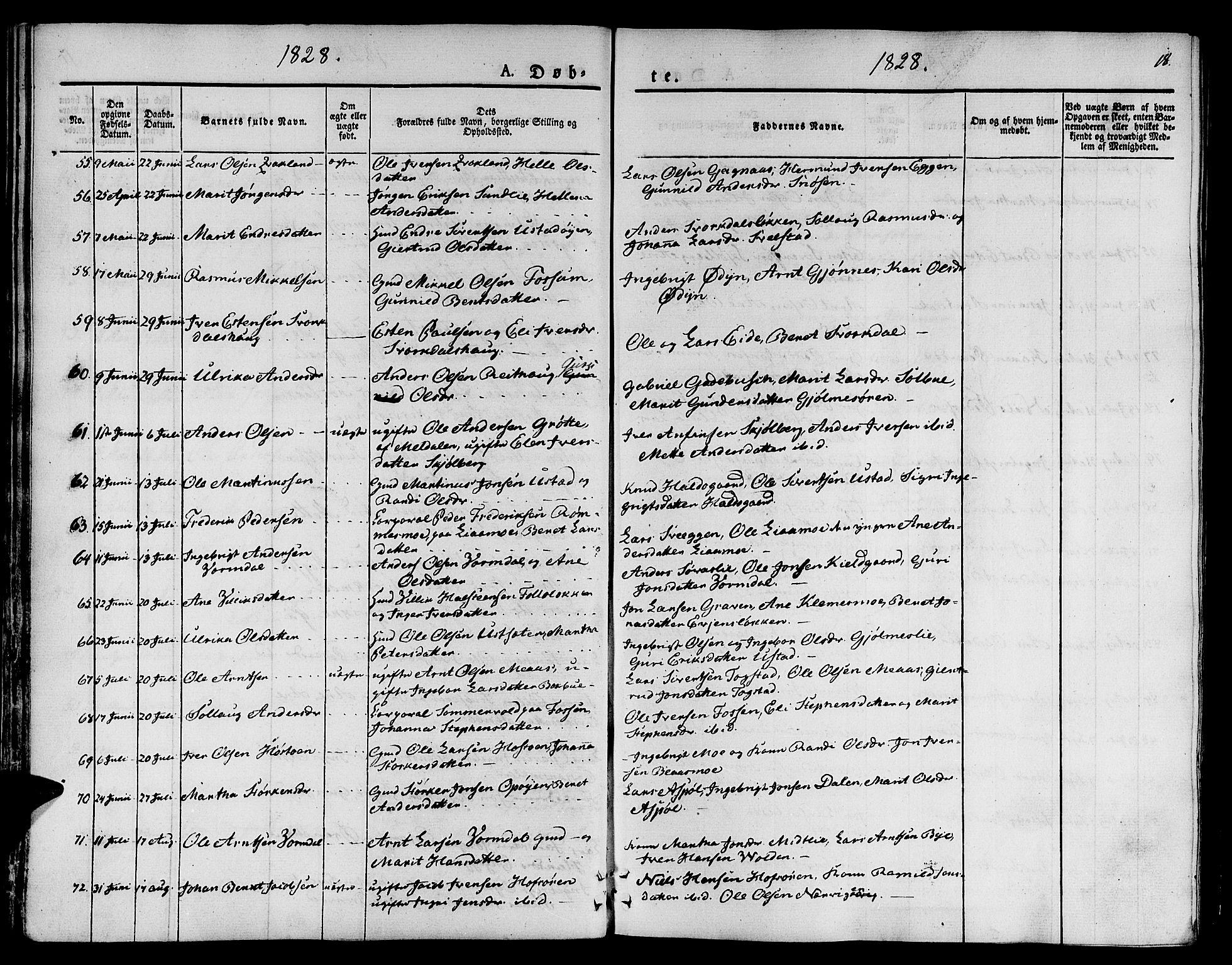 SAT, Ministerialprotokoller, klokkerbøker og fødselsregistre - Sør-Trøndelag, 668/L0804: Ministerialbok nr. 668A04, 1826-1839, s. 18