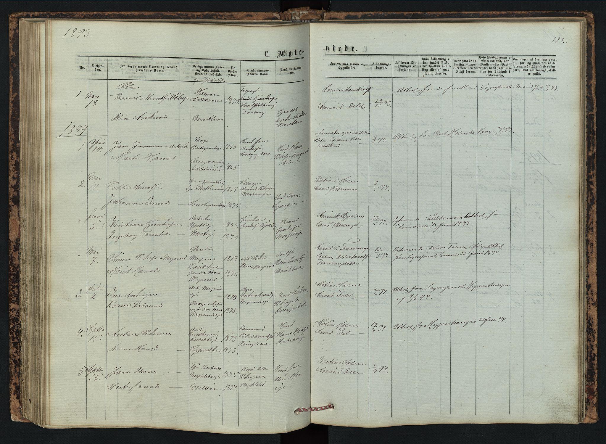 SAH, Vestre Gausdal prestekontor, Klokkerbok nr. 2, 1874-1897, s. 129