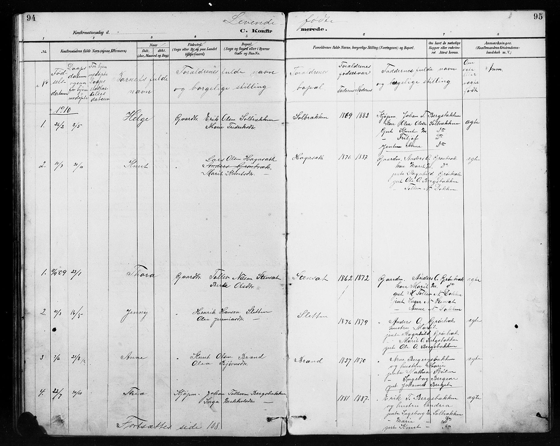 SAH, Etnedal prestekontor, H/Ha/Hab/Habb/L0001: Klokkerbok nr. II 1, 1894-1911, s. 94-95