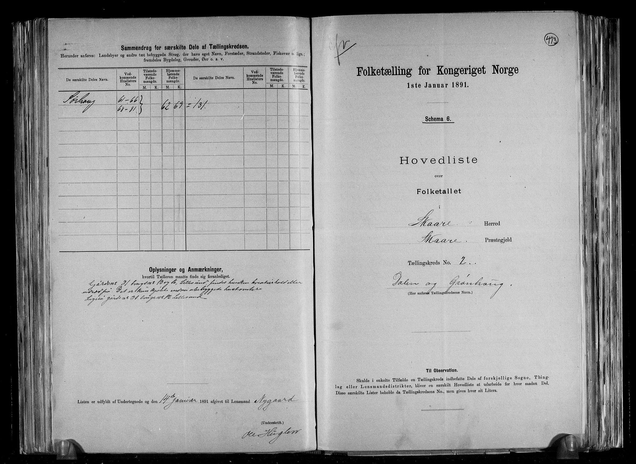 RA, Folketelling 1891 for 1153 Skåre herred, 1891, s. 6