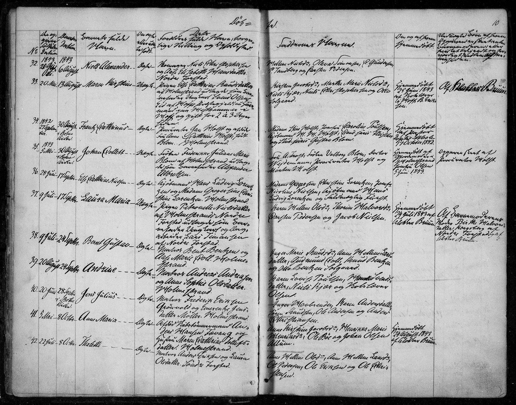 SAKO, Holmestrand kirkebøker, F/Fa/L0002: Ministerialbok nr. 2, 1840-1866, s. 10