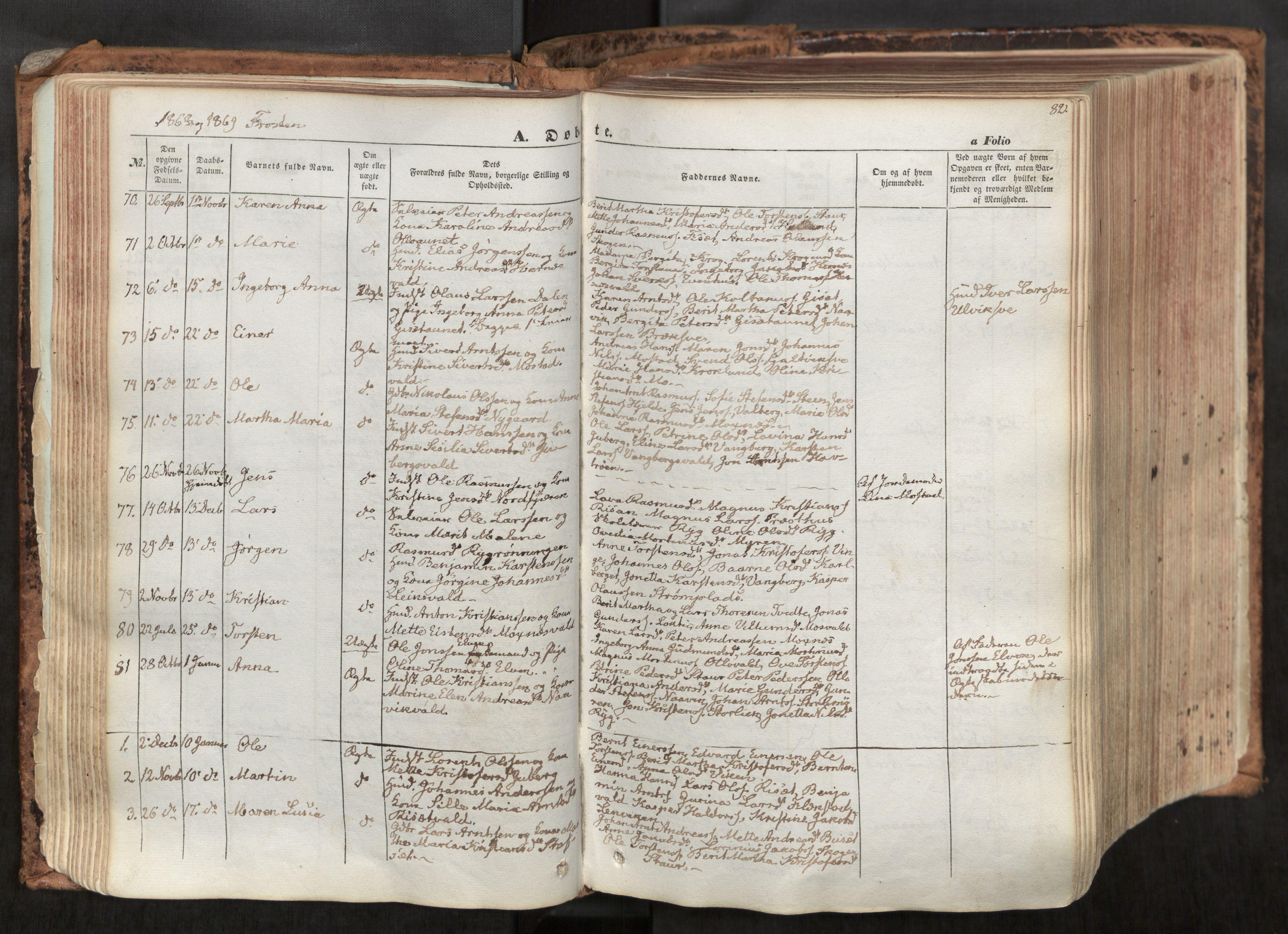 SAT, Ministerialprotokoller, klokkerbøker og fødselsregistre - Nord-Trøndelag, 713/L0116: Ministerialbok nr. 713A07, 1850-1877, s. 82