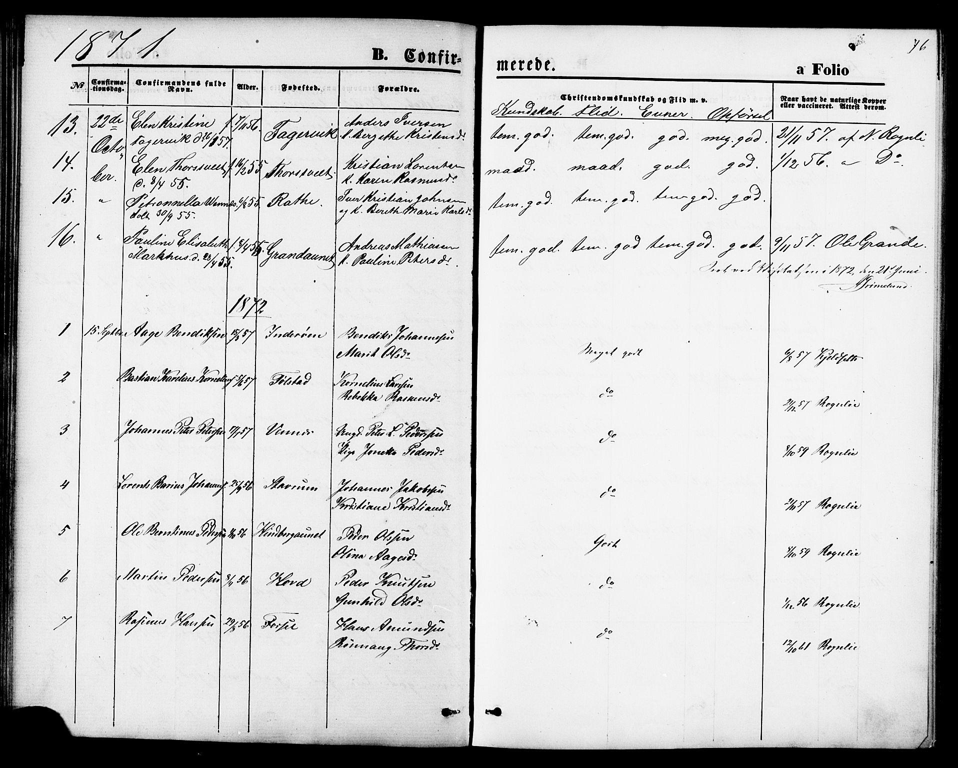 SAT, Ministerialprotokoller, klokkerbøker og fødselsregistre - Nord-Trøndelag, 744/L0419: Ministerialbok nr. 744A03, 1867-1881, s. 76