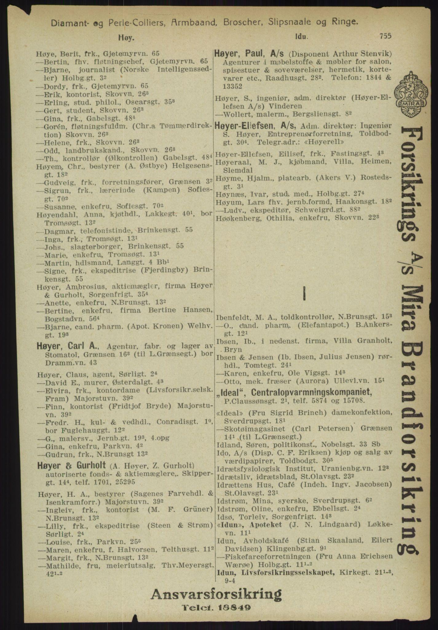 RA, Kristiania adressebok (publikasjon)*, 1918, s. 755