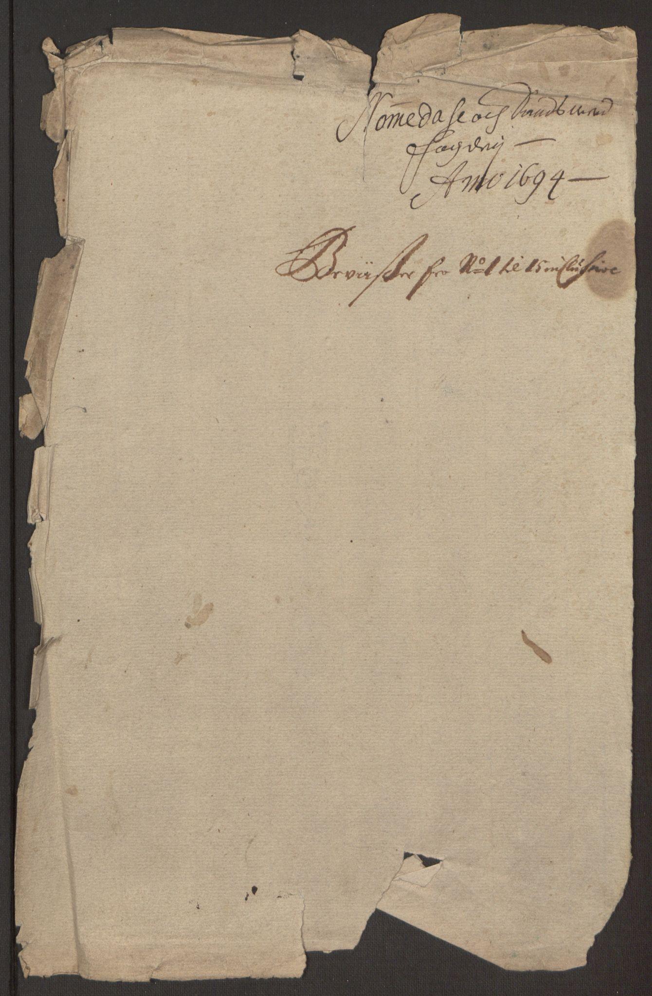 RA, Rentekammeret inntil 1814, Reviderte regnskaper, Fogderegnskap, R24/L1575: Fogderegnskap Numedal og Sandsvær, 1692-1695, s. 468