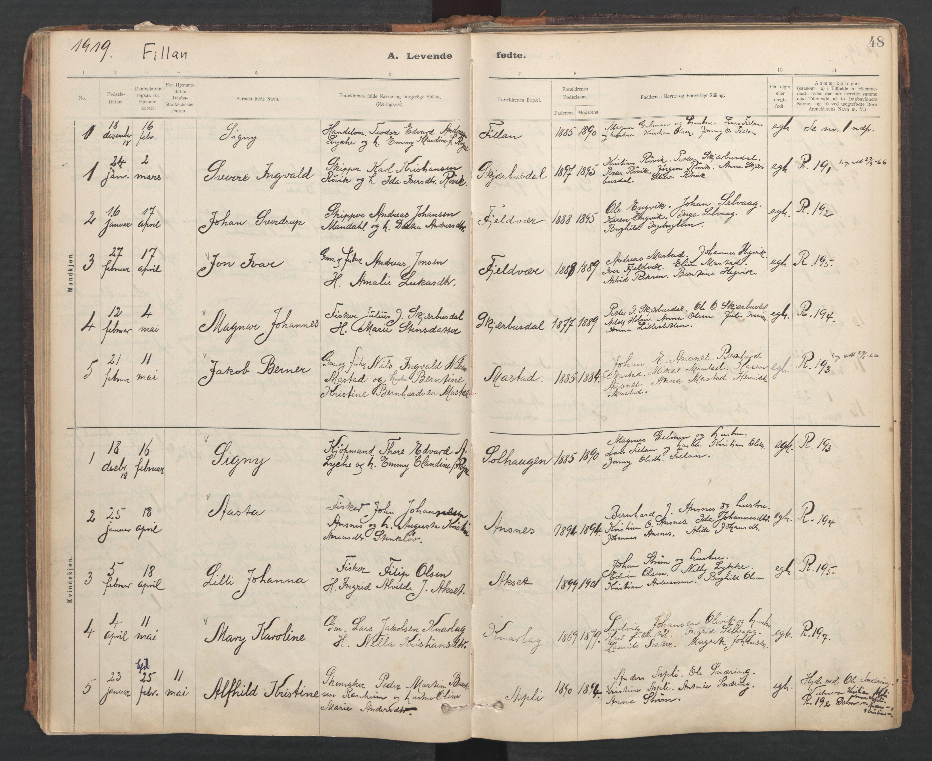 SAT, Ministerialprotokoller, klokkerbøker og fødselsregistre - Sør-Trøndelag, 637/L0559: Ministerialbok nr. 637A02, 1899-1923, s. 48