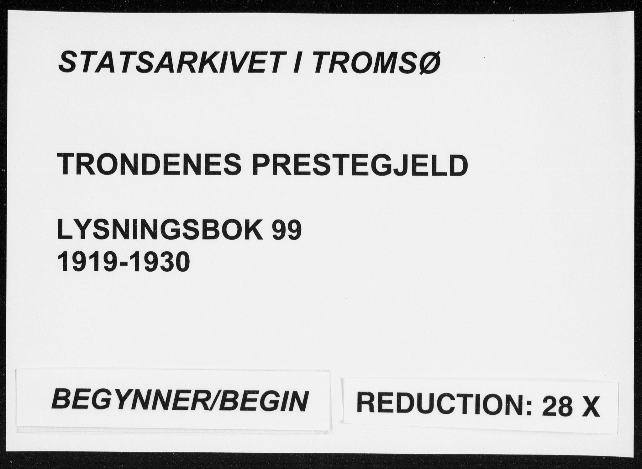 SATØ, Trondenes sokneprestkontor, I/Ib/L0099: Lysningsprotokoll nr. 99, 1919-1930