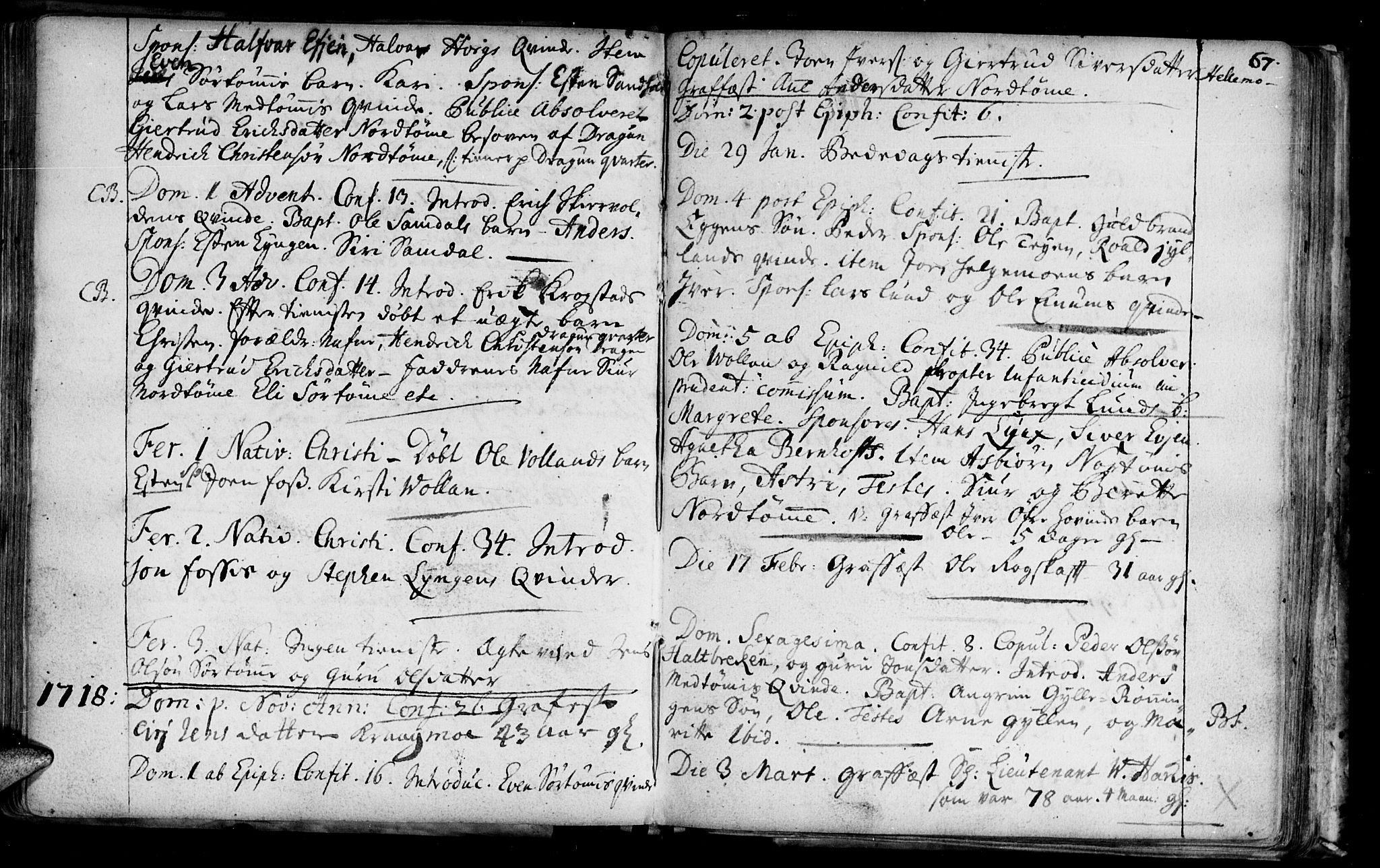 SAT, Ministerialprotokoller, klokkerbøker og fødselsregistre - Sør-Trøndelag, 692/L1101: Ministerialbok nr. 692A01, 1690-1746, s. 67