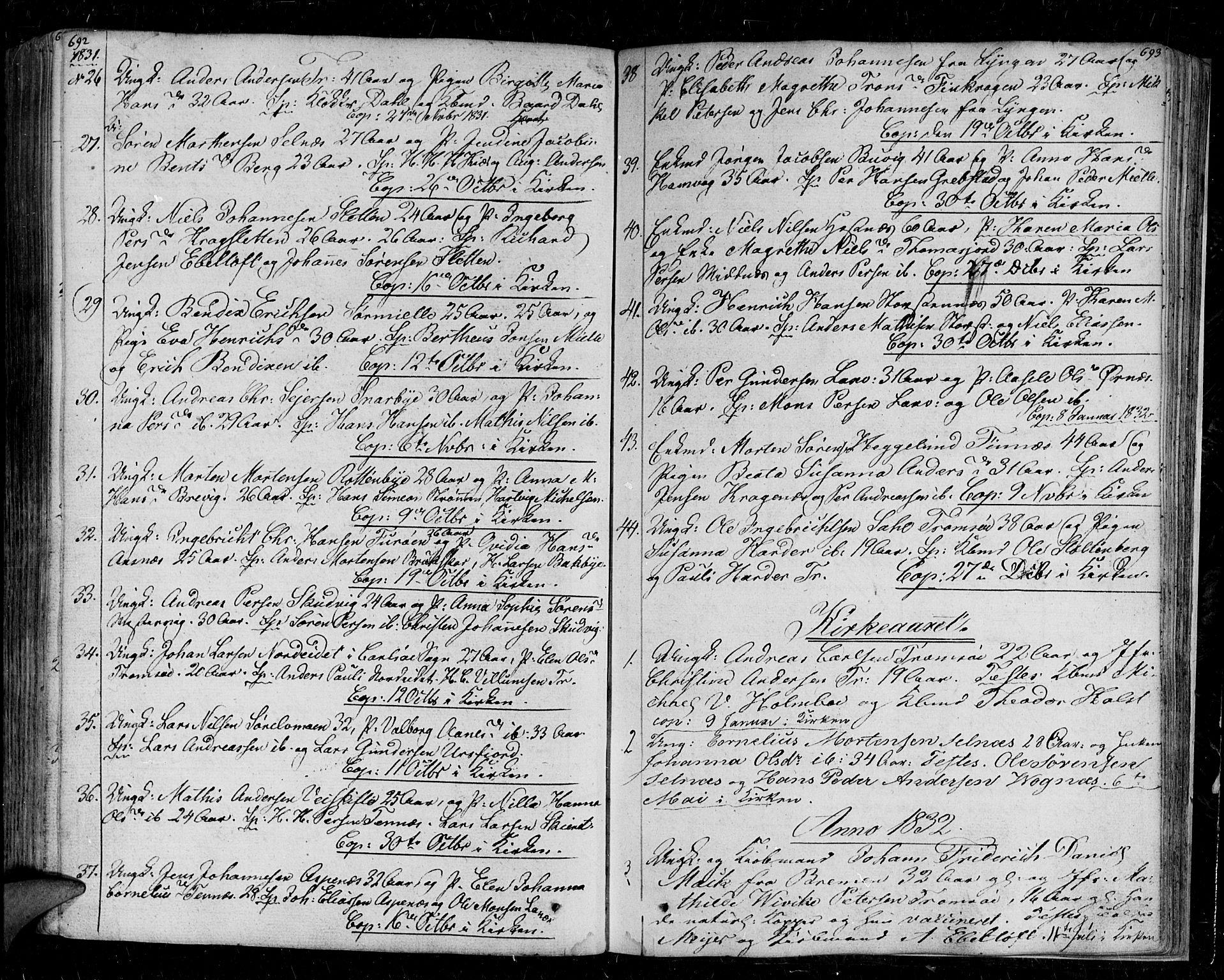 SATØ, Tromsø sokneprestkontor/stiftsprosti/domprosti, G/Ga/L0008kirke: Ministerialbok nr. 8, 1829-1837, s. 692-693