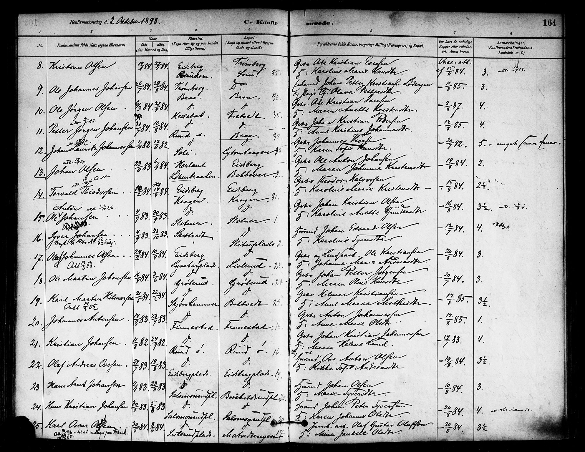 SAO, Eidsberg prestekontor Kirkebøker, F/Fa/L0012: Ministerialbok nr. I 12, 1879-1901, s. 164