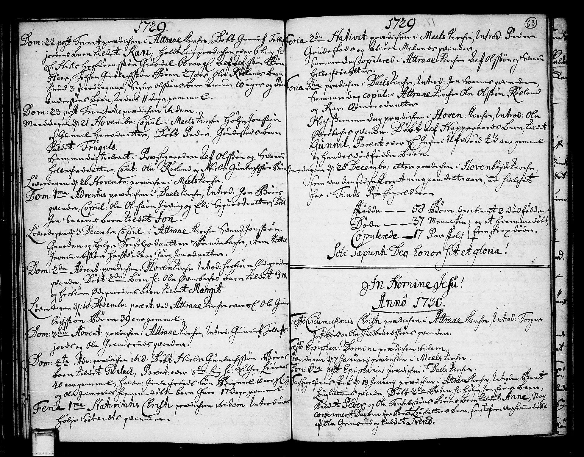 SAKO, Tinn kirkebøker, F/Fa/L0001: Ministerialbok nr. I 1, 1717-1734, s. 63
