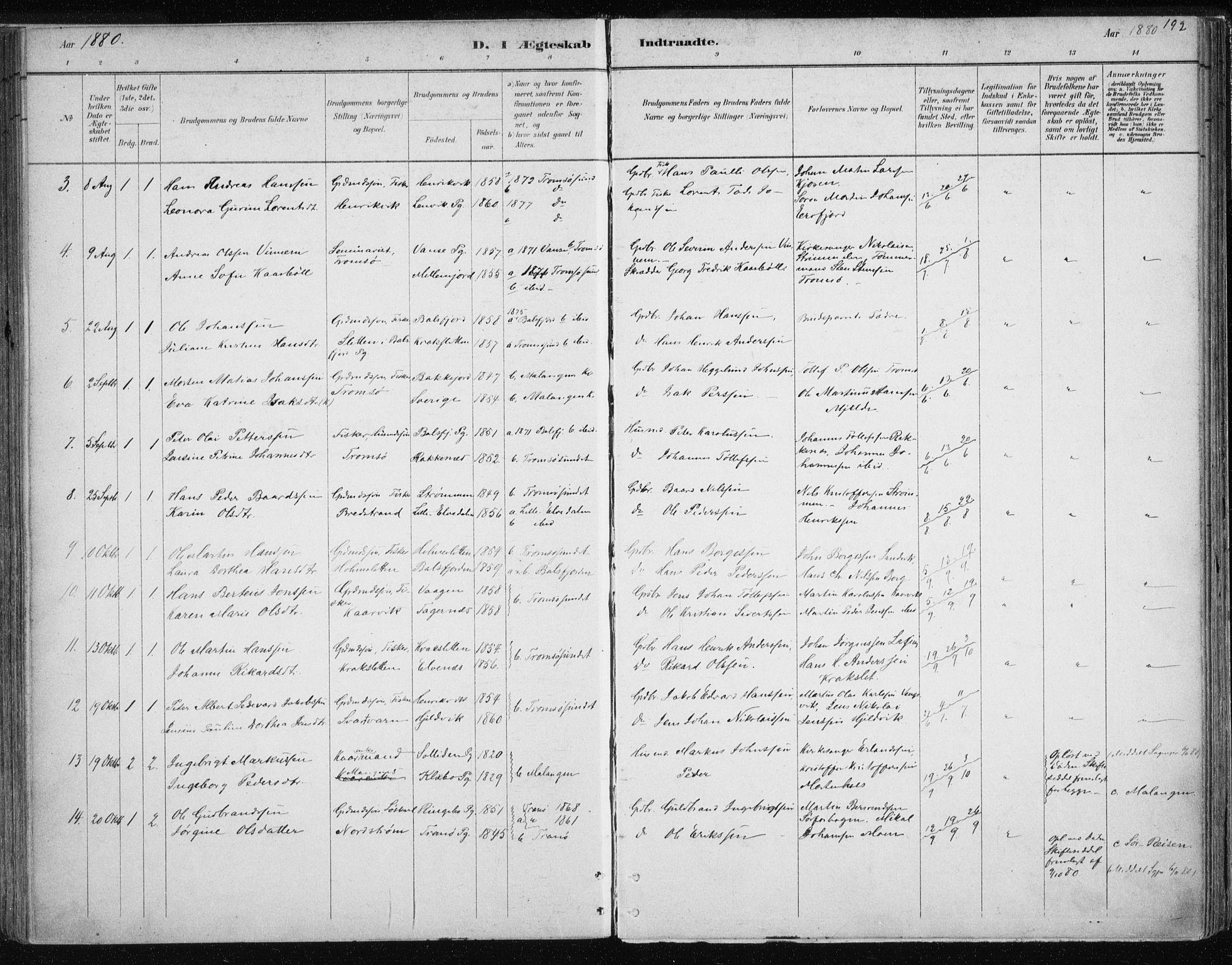 SATØ, Tromsøysund sokneprestkontor, G/Ga/L0004kirke: Ministerialbok nr. 4, 1880-1888, s. 192