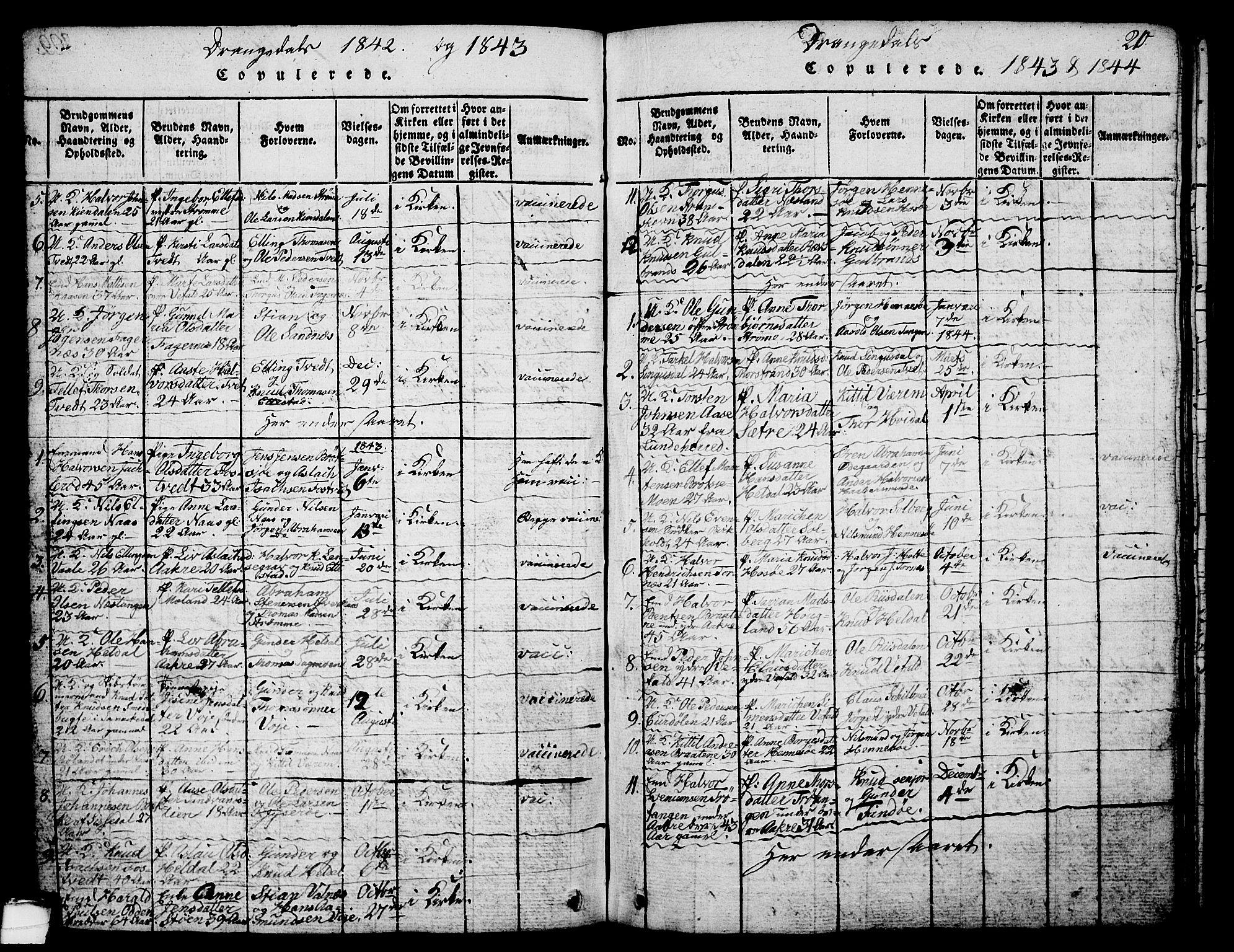 SAKO, Drangedal kirkebøker, G/Ga/L0001: Klokkerbok nr. I 1 /1, 1814-1856, s. 210