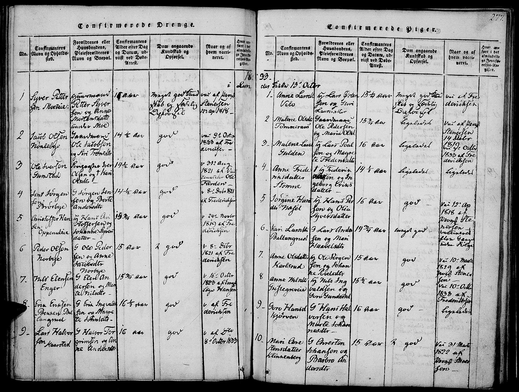 SAH, Jevnaker prestekontor, Ministerialbok nr. 5, 1815-1837, s. 277