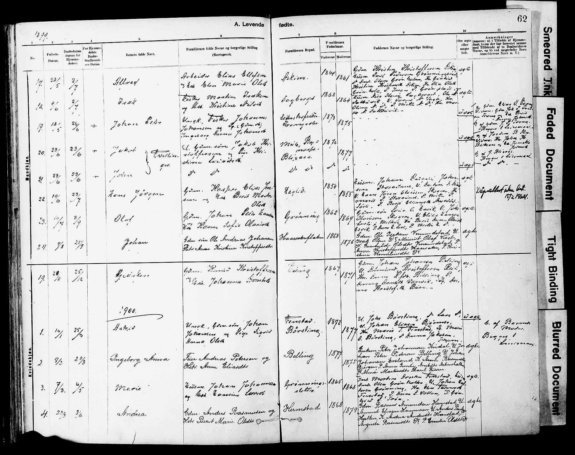 SAT, Ministerialprotokoller, klokkerbøker og fødselsregistre - Sør-Trøndelag, 646/L0615: Ministerialbok nr. 646A13, 1885-1900, s. 62