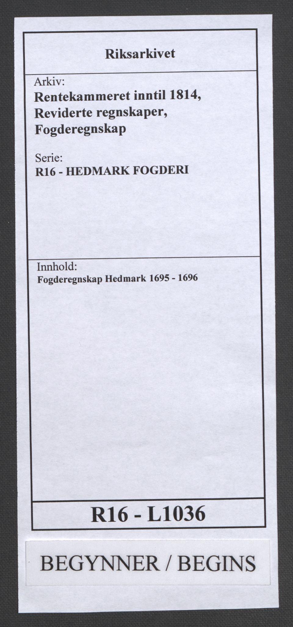 RA, Rentekammeret inntil 1814, Reviderte regnskaper, Fogderegnskap, R16/L1036: Fogderegnskap Hedmark, 1695-1696, s. 1