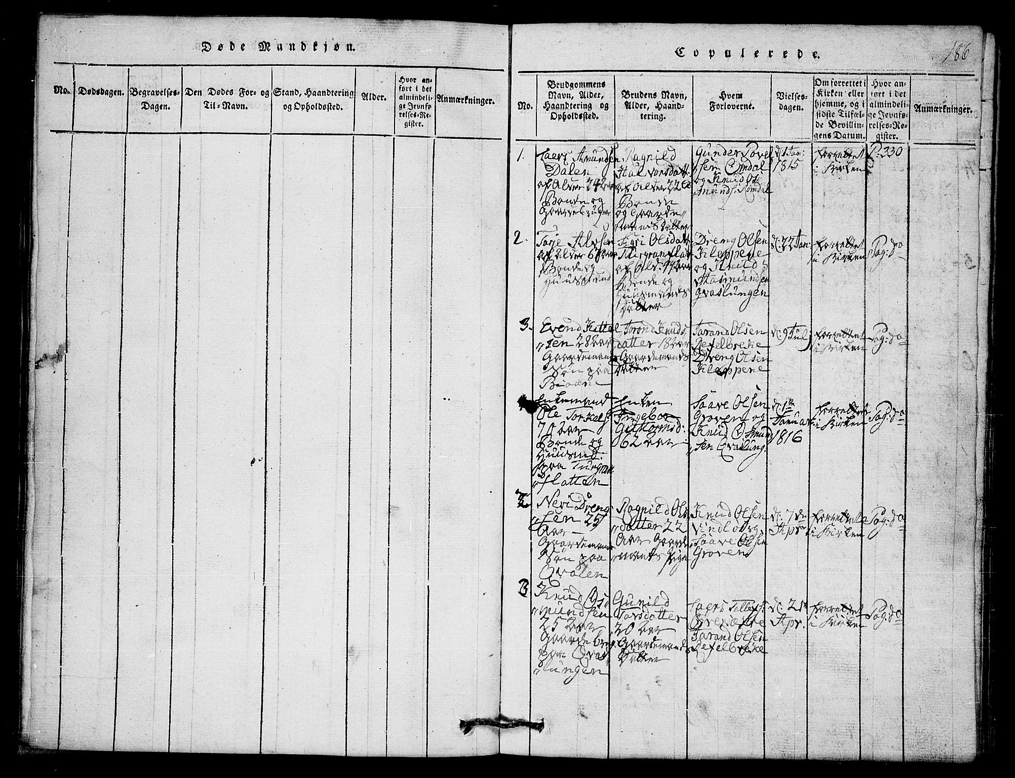 SAKO, Lårdal kirkebøker, G/Gb/L0001: Klokkerbok nr. II 1, 1815-1865, s. 186