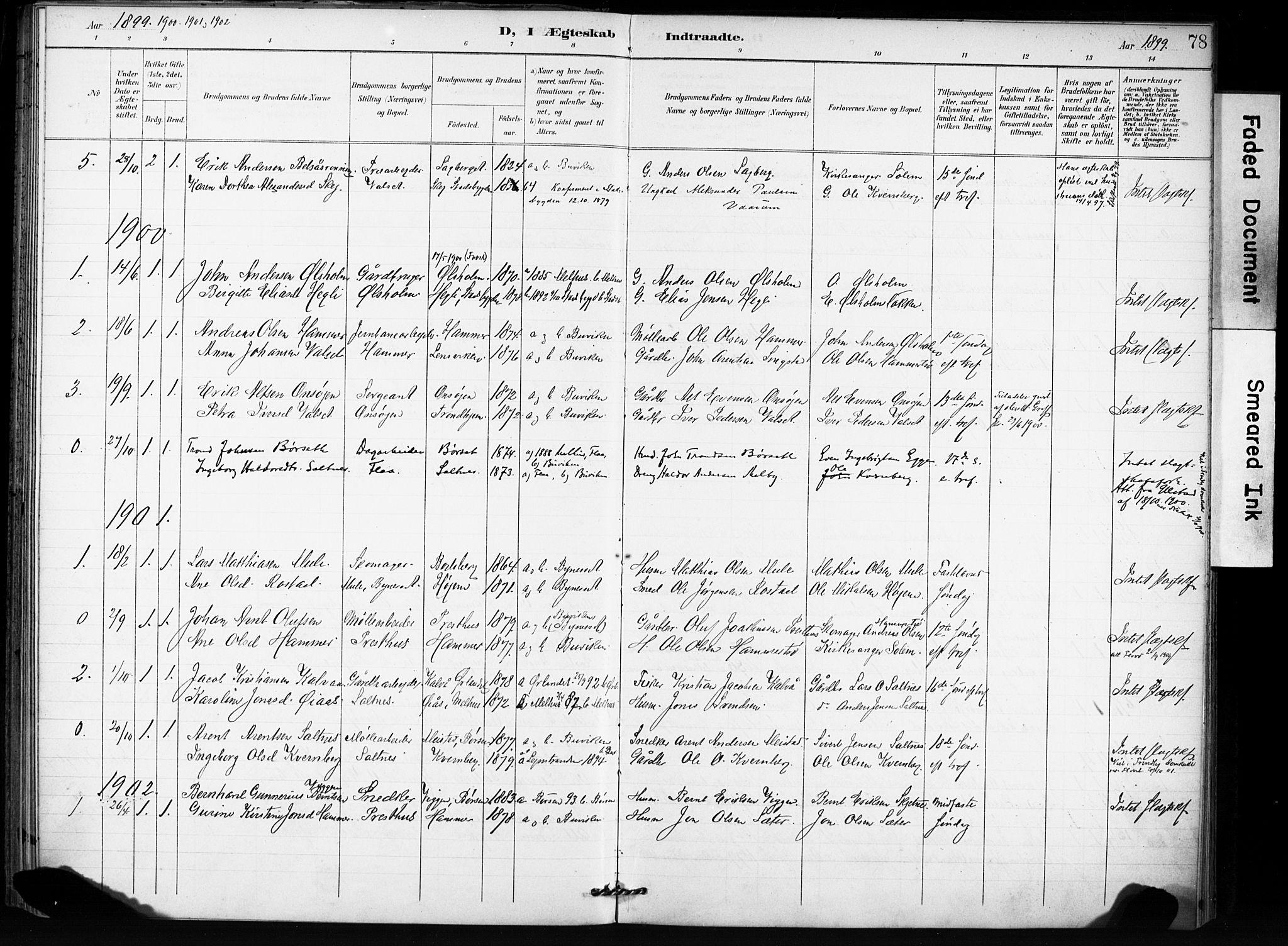 SAT, Ministerialprotokoller, klokkerbøker og fødselsregistre - Sør-Trøndelag, 666/L0787: Ministerialbok nr. 666A05, 1895-1908, s. 78