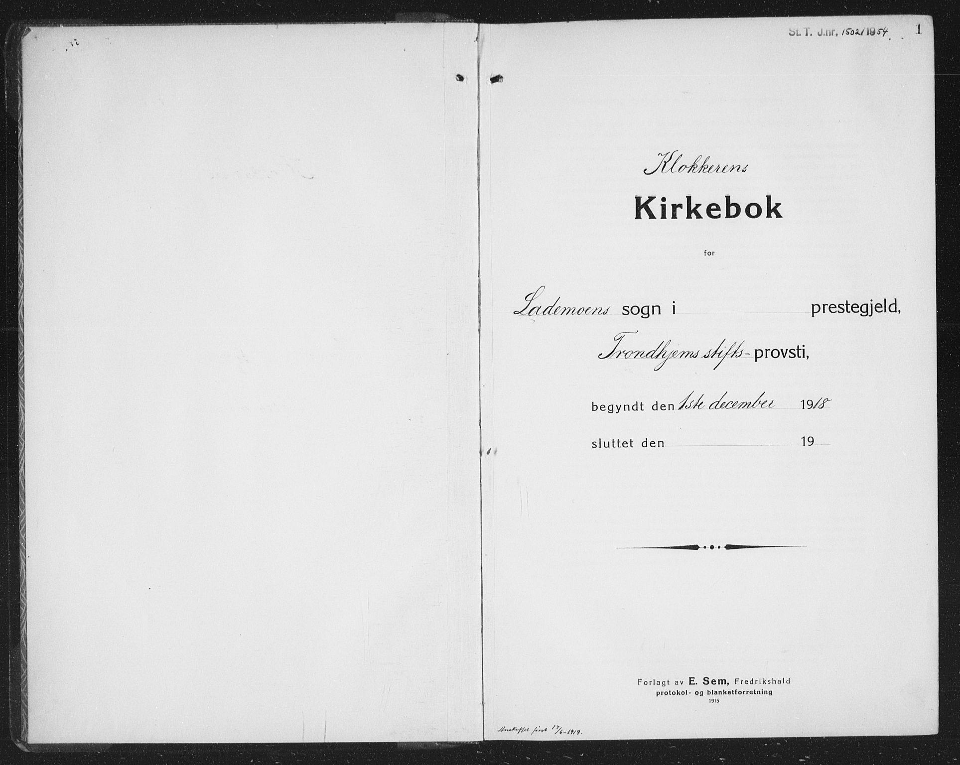 SAT, Ministerialprotokoller, klokkerbøker og fødselsregistre - Sør-Trøndelag, 605/L0258: Klokkerbok nr. 605C05, 1918-1930, s. 1