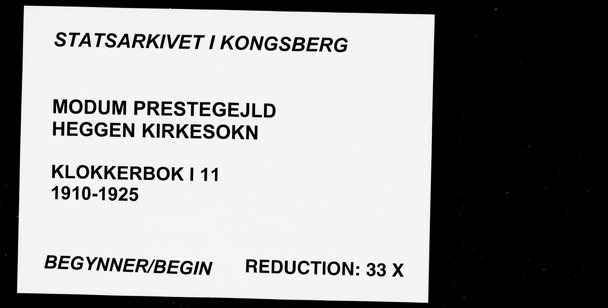 SAKO, Modum kirkebøker, G/Ga/L0011: Klokkerbok nr. I 11, 1910-1925