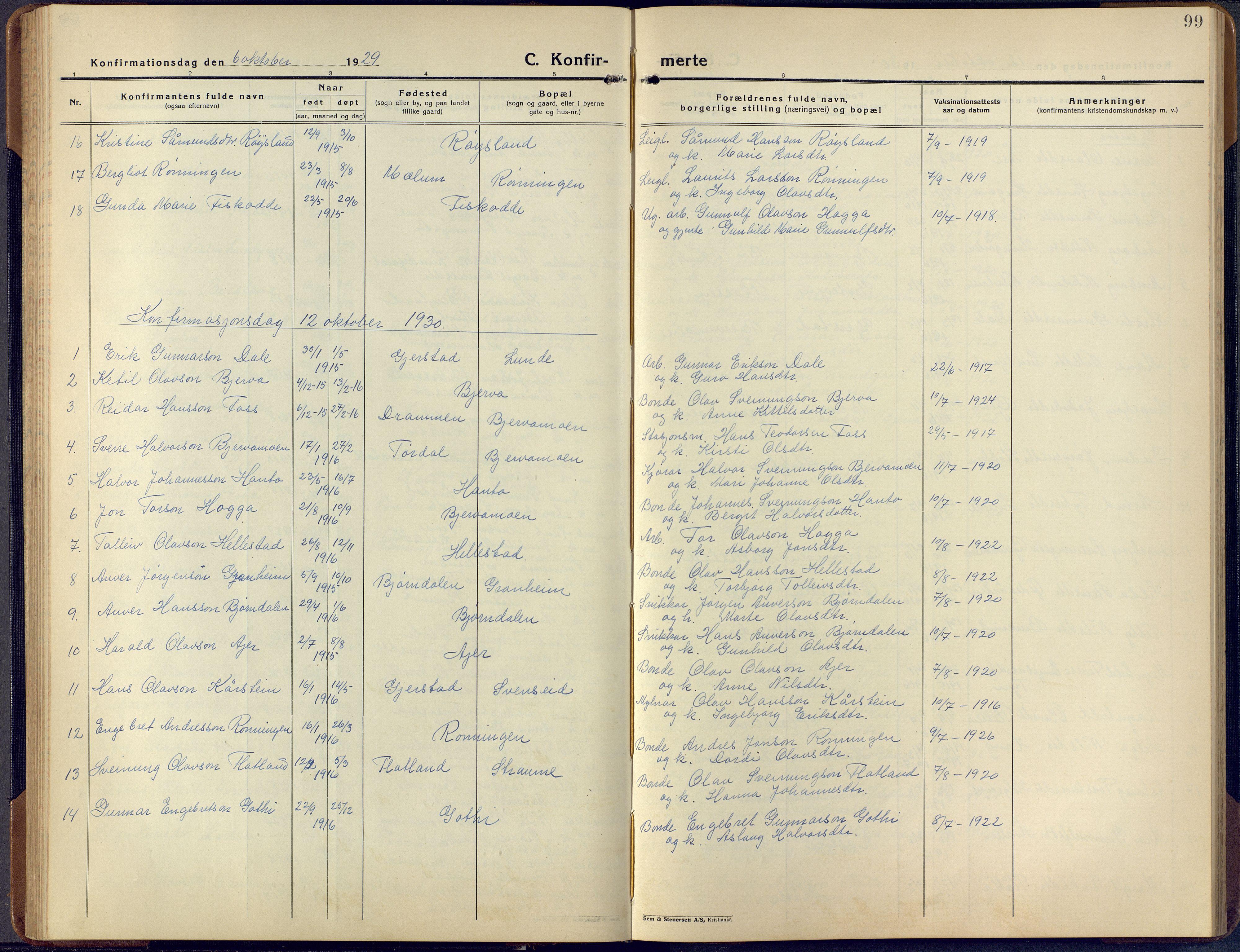 SAKO, Lunde kirkebøker, F/Fa/L0006: Ministerialbok nr. I 6, 1922-1940, s. 99