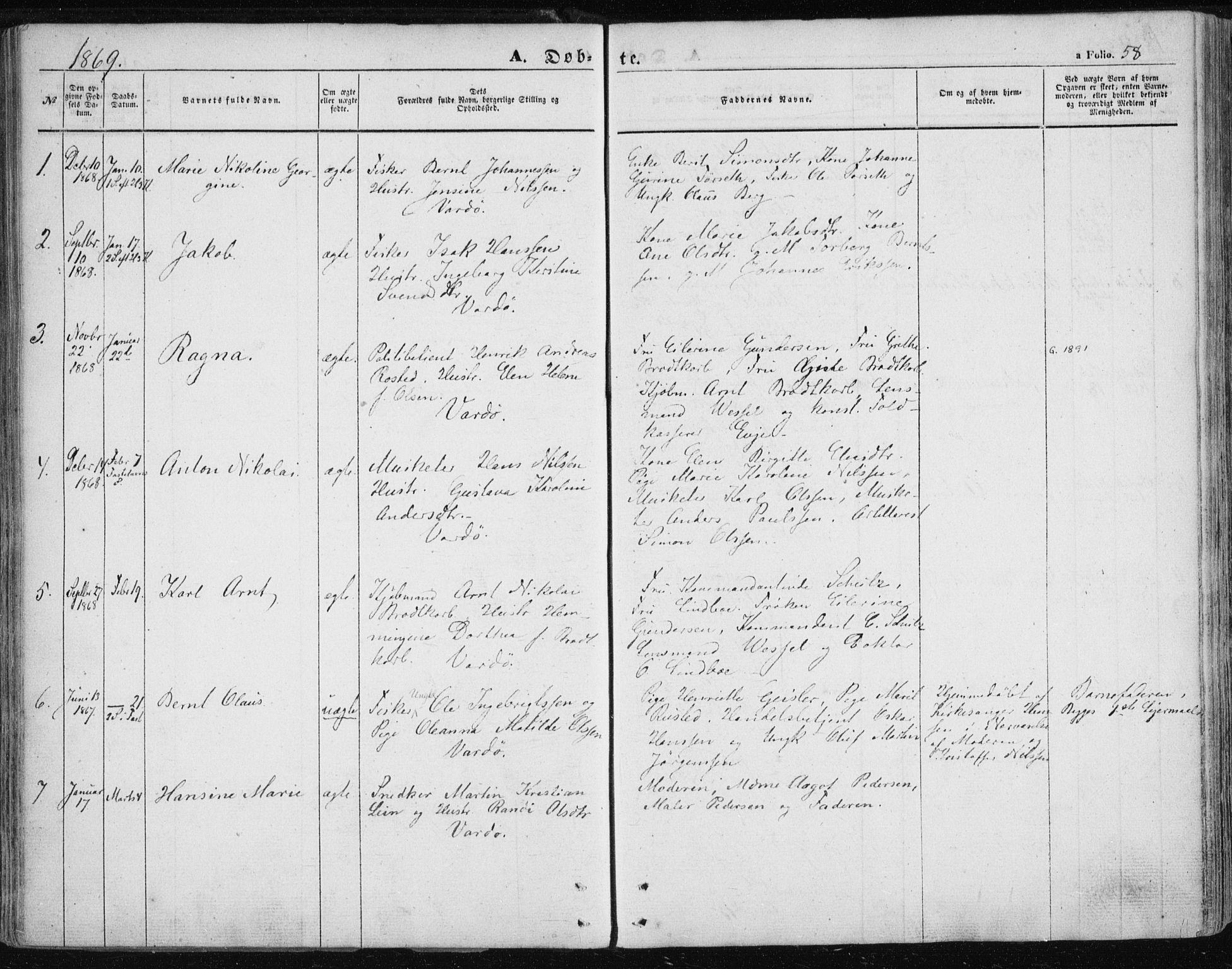 SATØ, Vardø sokneprestkontor, H/Ha/L0004kirke: Ministerialbok nr. 4, 1862-1871, s. 58
