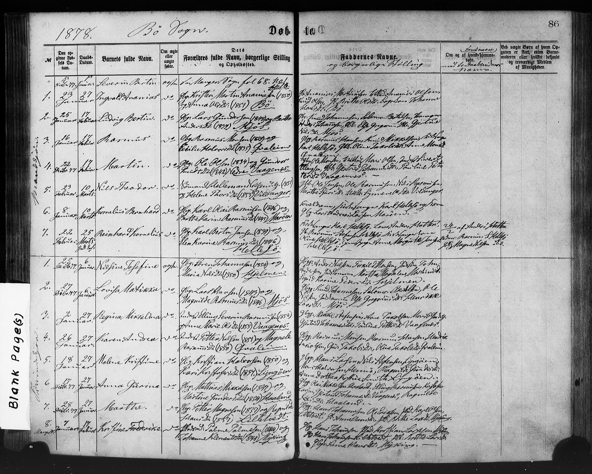 SAB, Manger sokneprestembete, H/Haa: Ministerialbok nr. A 8, 1871-1880, s. 86