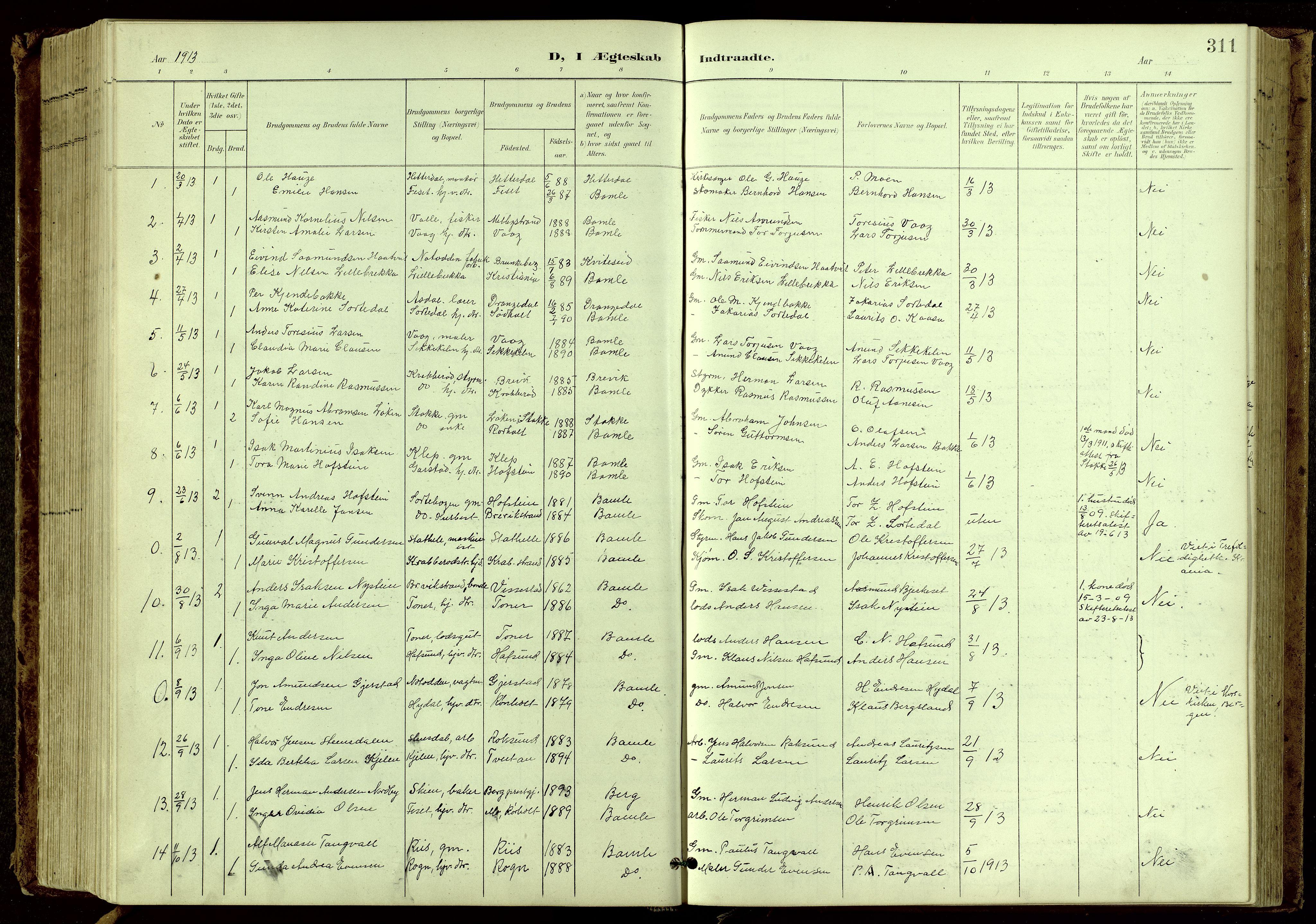 SAKO, Bamble kirkebøker, G/Ga/L0010: Klokkerbok nr. I 10, 1901-1919, s. 311