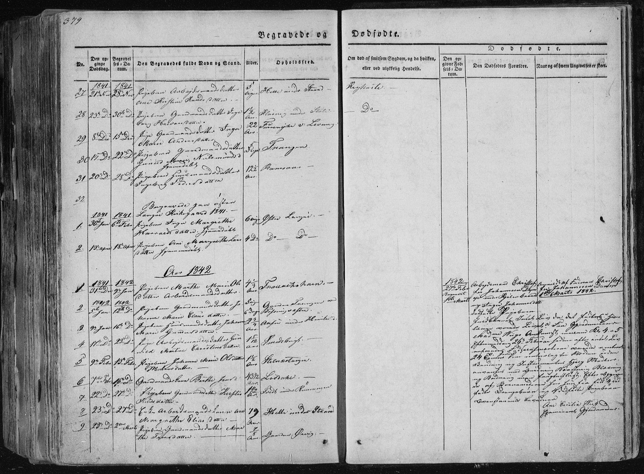 SAKO, Sannidal kirkebøker, F/Fa/L0006: Ministerialbok nr. 6, 1831-1847, s. 379