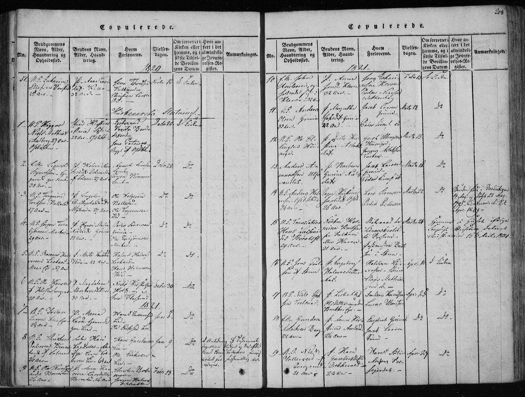 SAKO, Gjerpen kirkebøker, F/Fa/L0004: Ministerialbok nr. 4, 1814-1823, s. 208