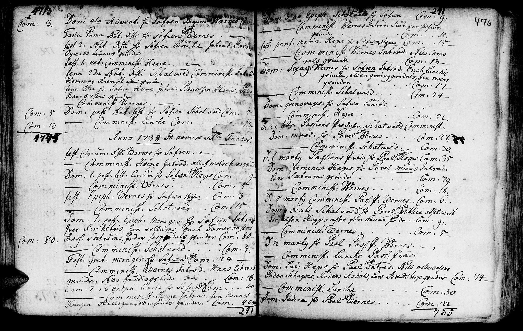 SAT, Ministerialprotokoller, klokkerbøker og fødselsregistre - Nord-Trøndelag, 709/L0054: Ministerialbok nr. 709A02, 1714-1738, s. 475-476