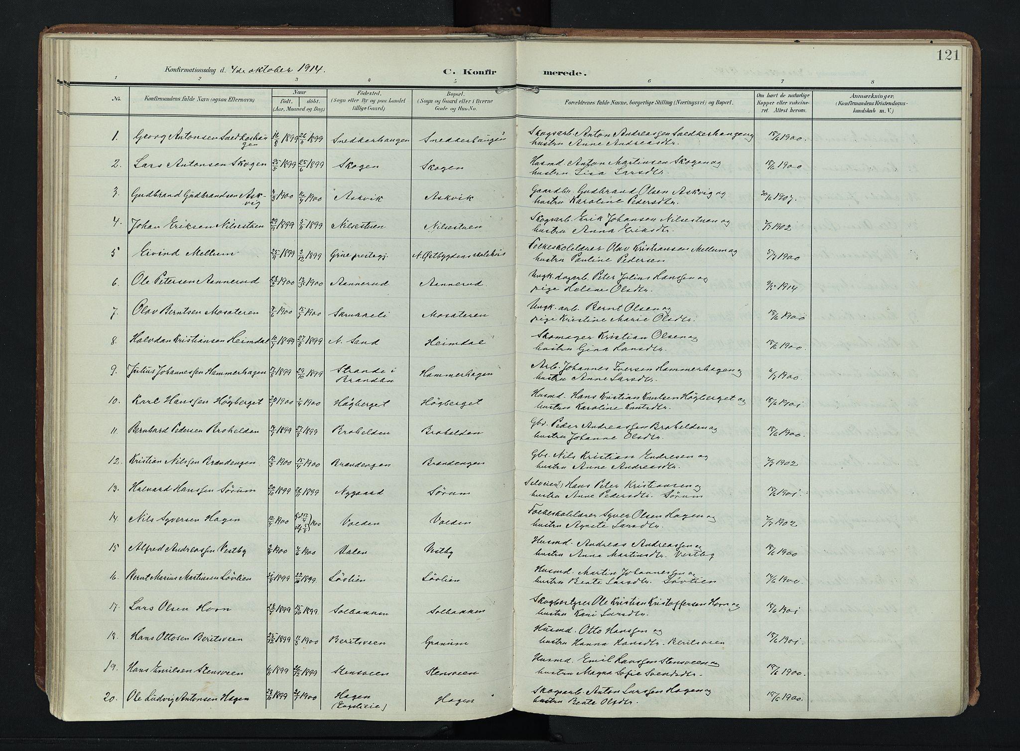 SAH, Søndre Land prestekontor, K/L0007: Ministerialbok nr. 7, 1905-1914, s. 121