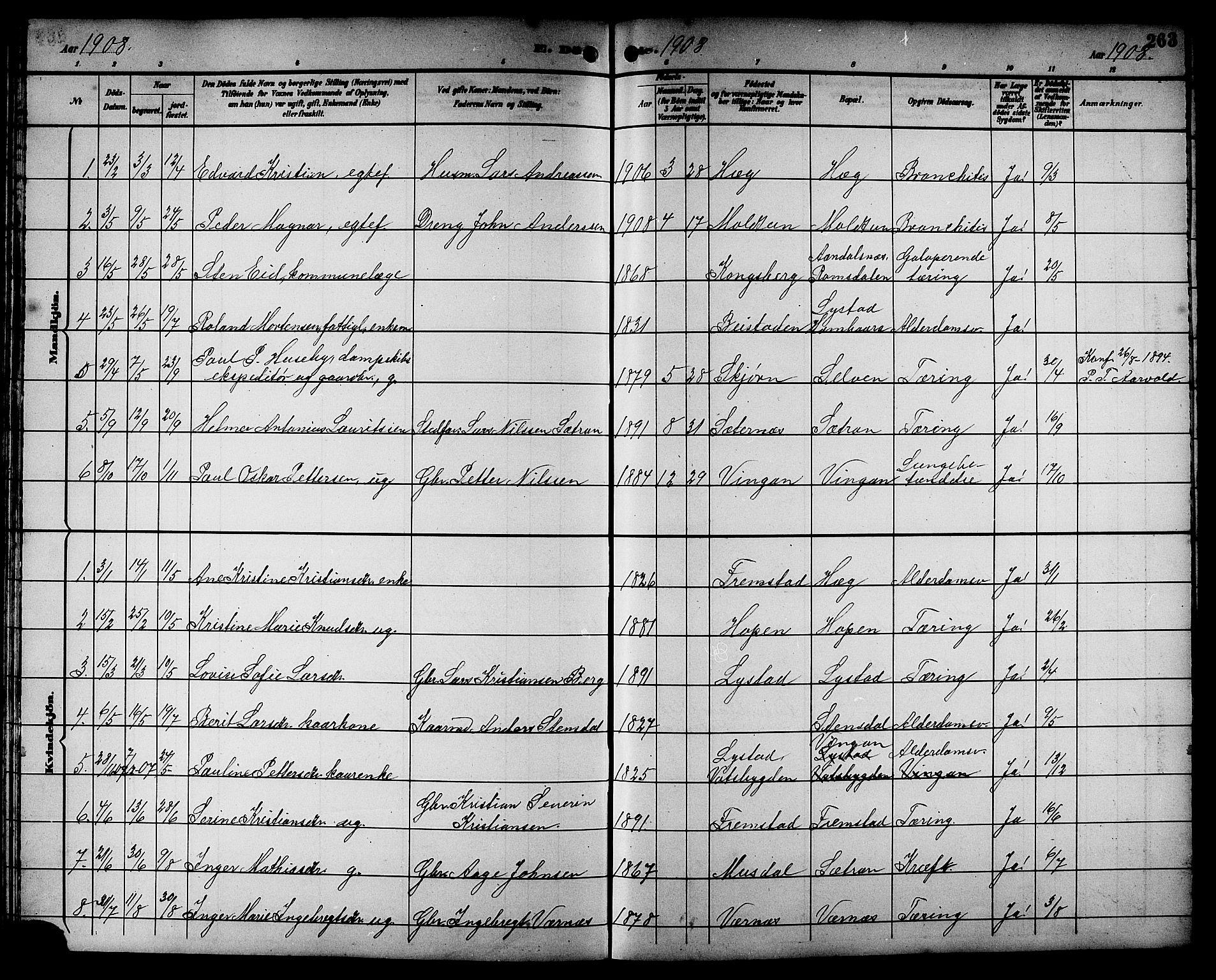 SAT, Ministerialprotokoller, klokkerbøker og fødselsregistre - Sør-Trøndelag, 662/L0757: Klokkerbok nr. 662C02, 1892-1918, s. 263