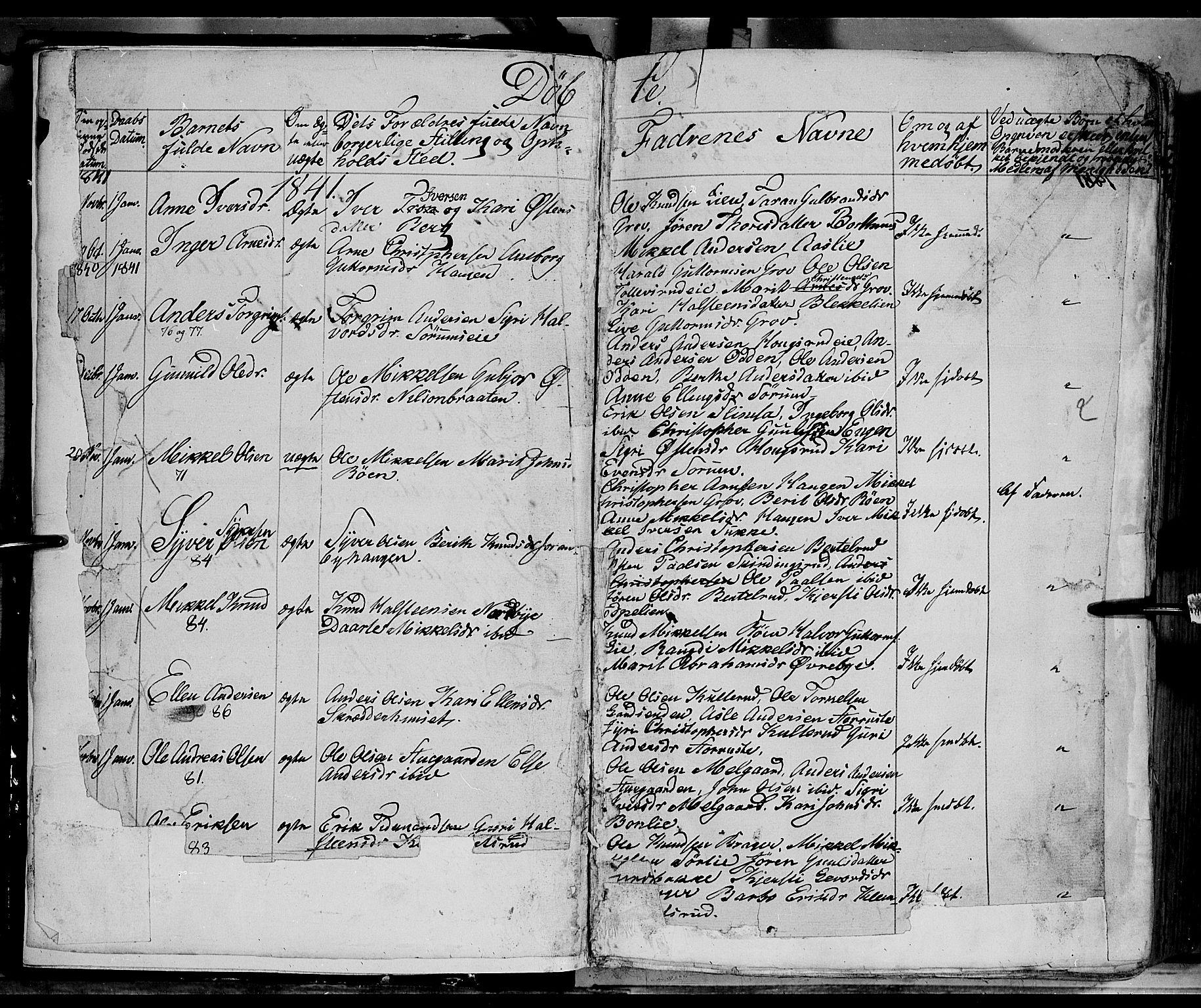 SAH, Sør-Aurdal prestekontor, Ministerialbok nr. 4, 1841-1849, s. 1-2