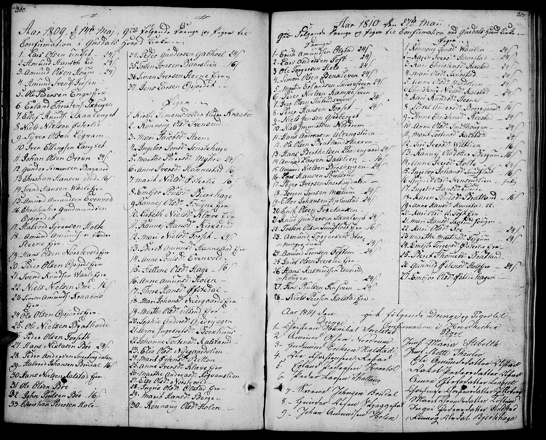SAH, Gausdal prestekontor, Ministerialbok nr. 4, 1809-1817, s. 300-301