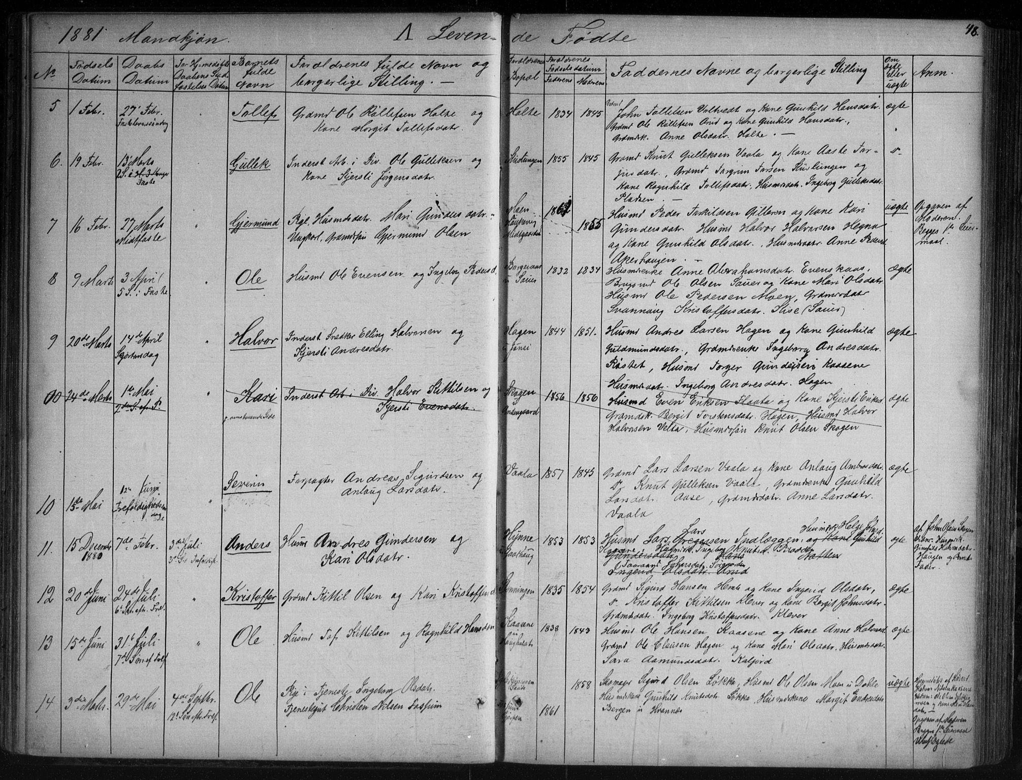 SAKO, Sauherad kirkebøker, G/Ga/L0003: Klokkerbok nr. I 3, 1866-1905, s. 48
