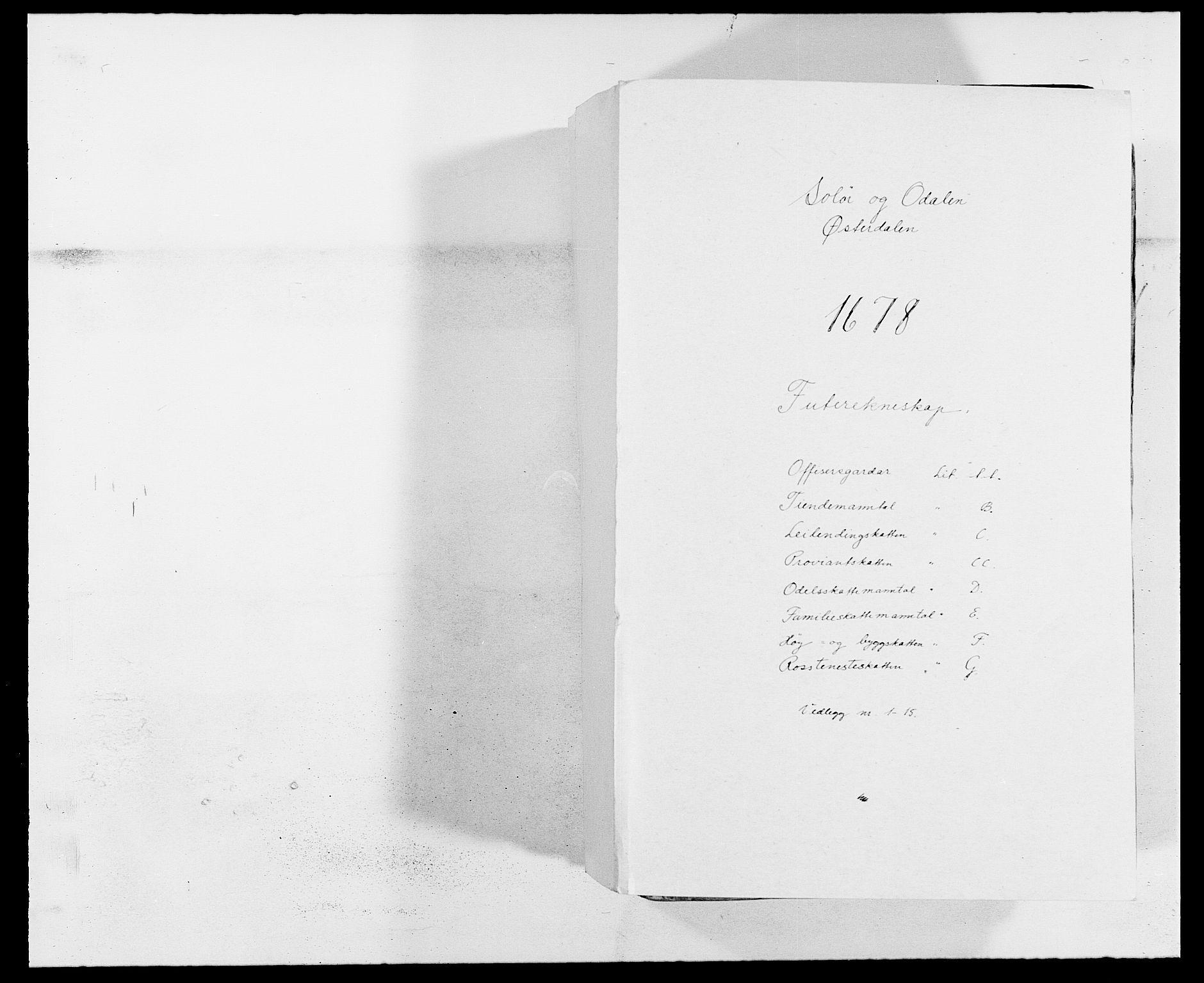 RA, Rentekammeret inntil 1814, Reviderte regnskaper, Fogderegnskap, R13/L0814: Fogderegnskap Solør, Odal og Østerdal, 1678, s. 1