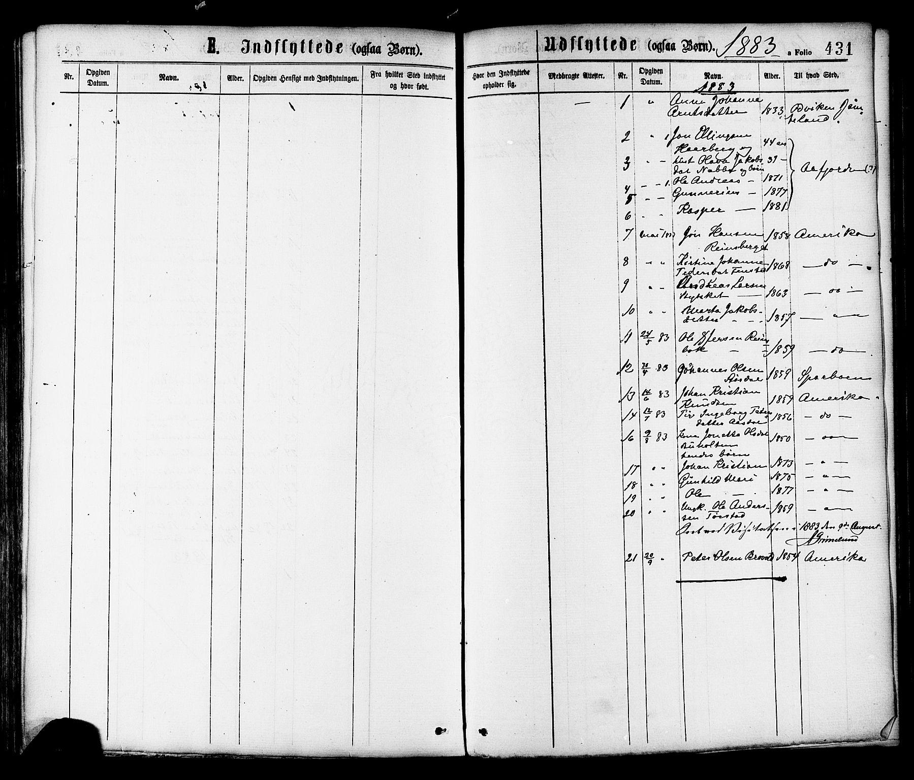SAT, Ministerialprotokoller, klokkerbøker og fødselsregistre - Sør-Trøndelag, 646/L0613: Ministerialbok nr. 646A11, 1870-1884, s. 431